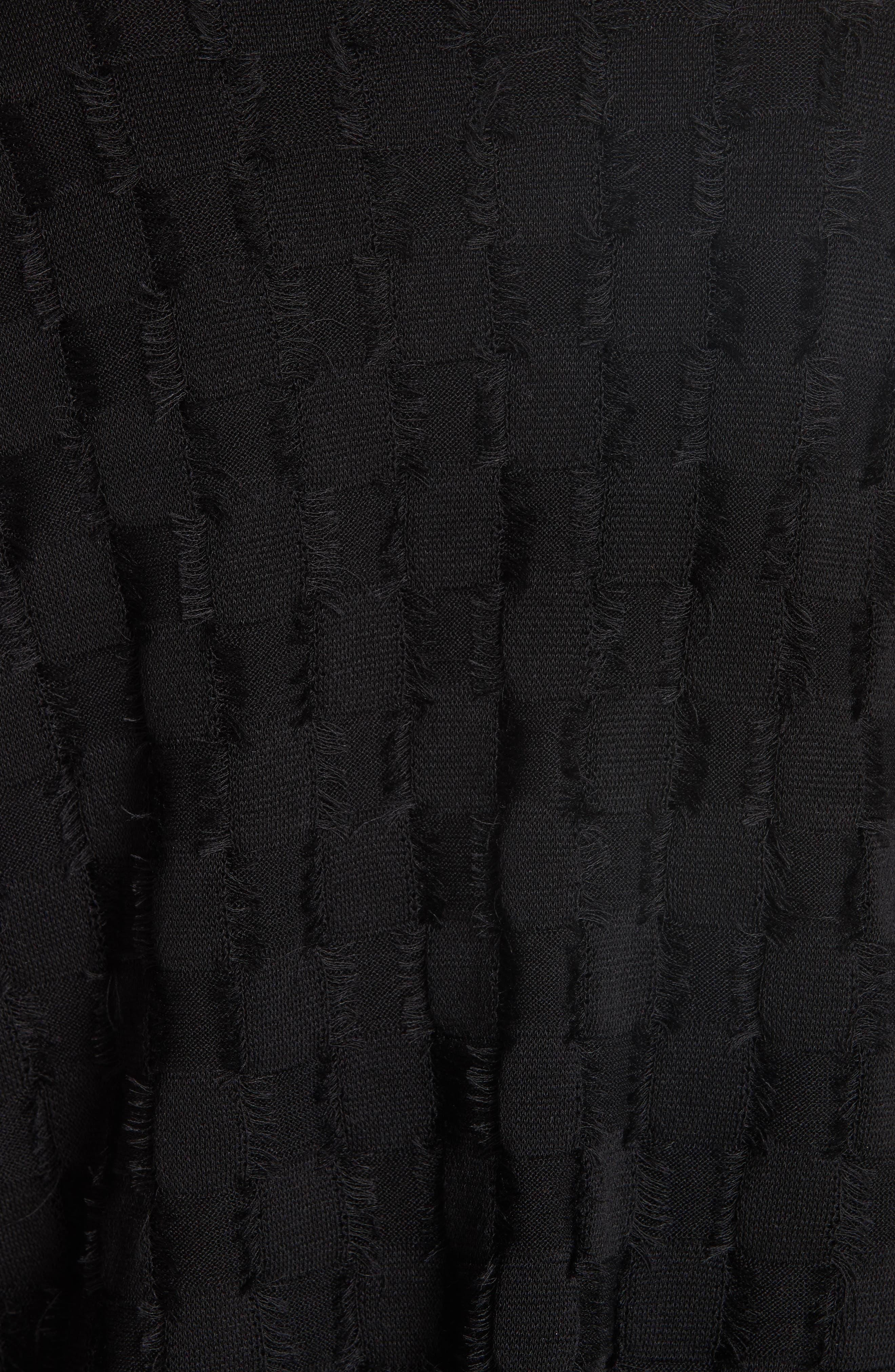 Fringe Knit Sweater,                             Alternate thumbnail 5, color,                             001