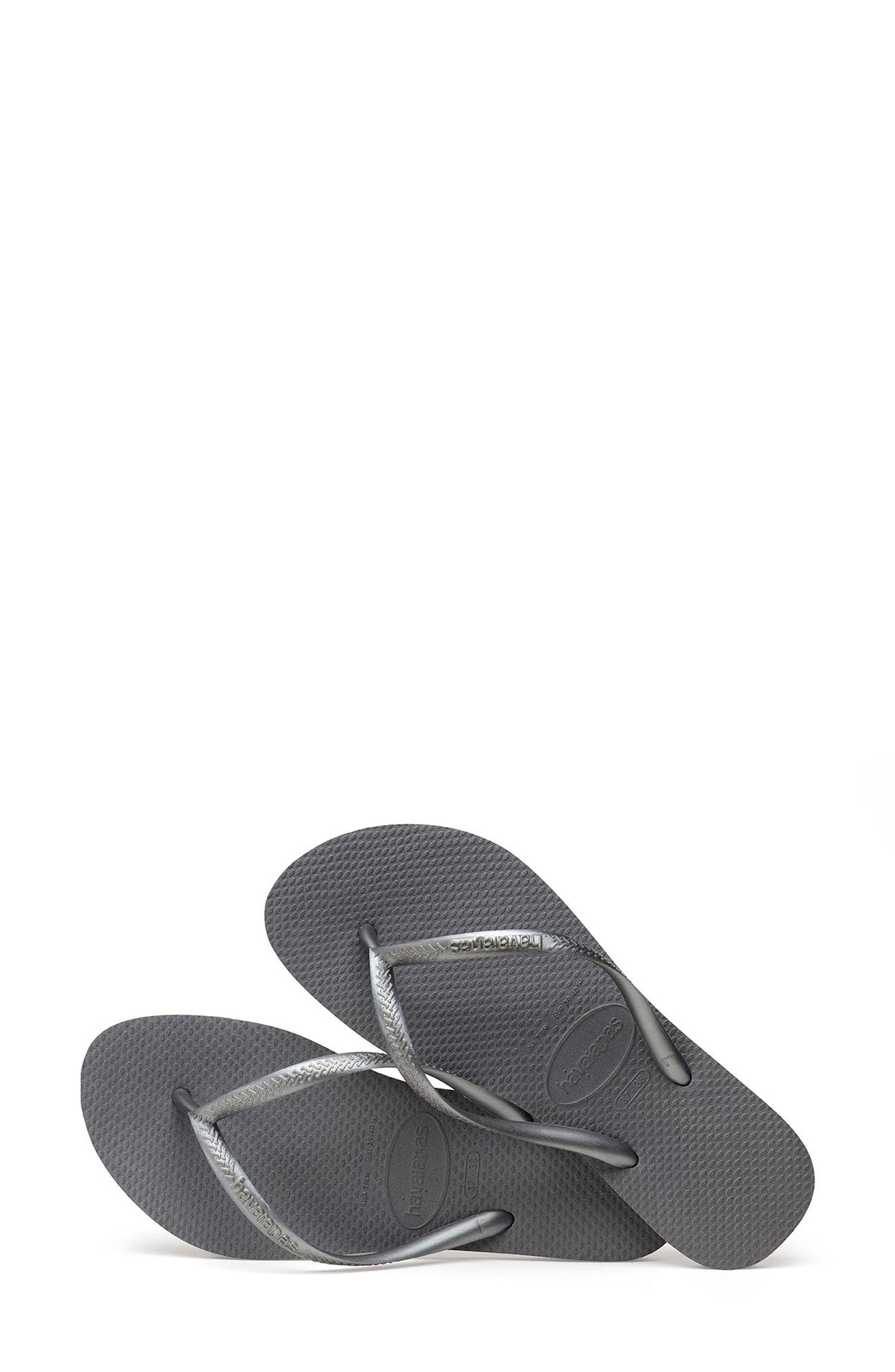 'Slim' Flip Flop,                             Alternate thumbnail 3, color,                             STEEL GREY