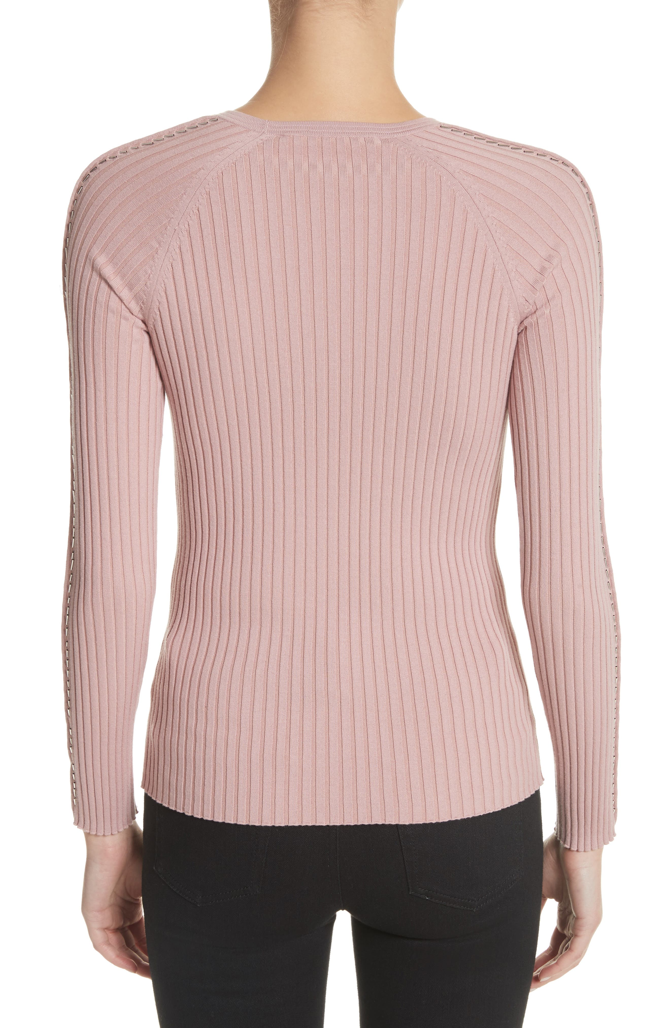 Pin Pierce Ribbed Sweater,                             Alternate thumbnail 2, color,                             654