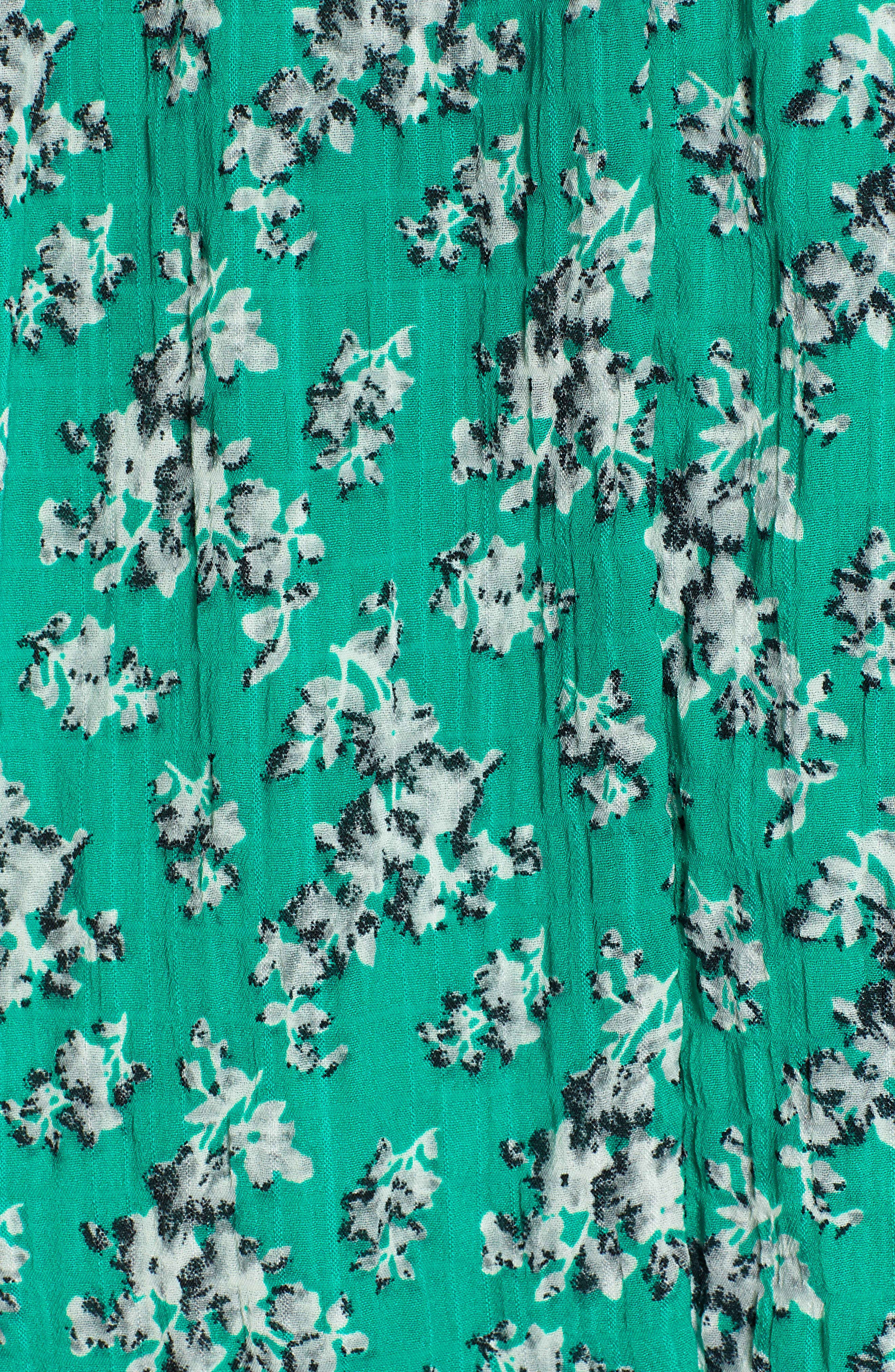 Adventurer Floral Print High/Low Dress,                             Alternate thumbnail 6, color,                             GREEN FLORAL