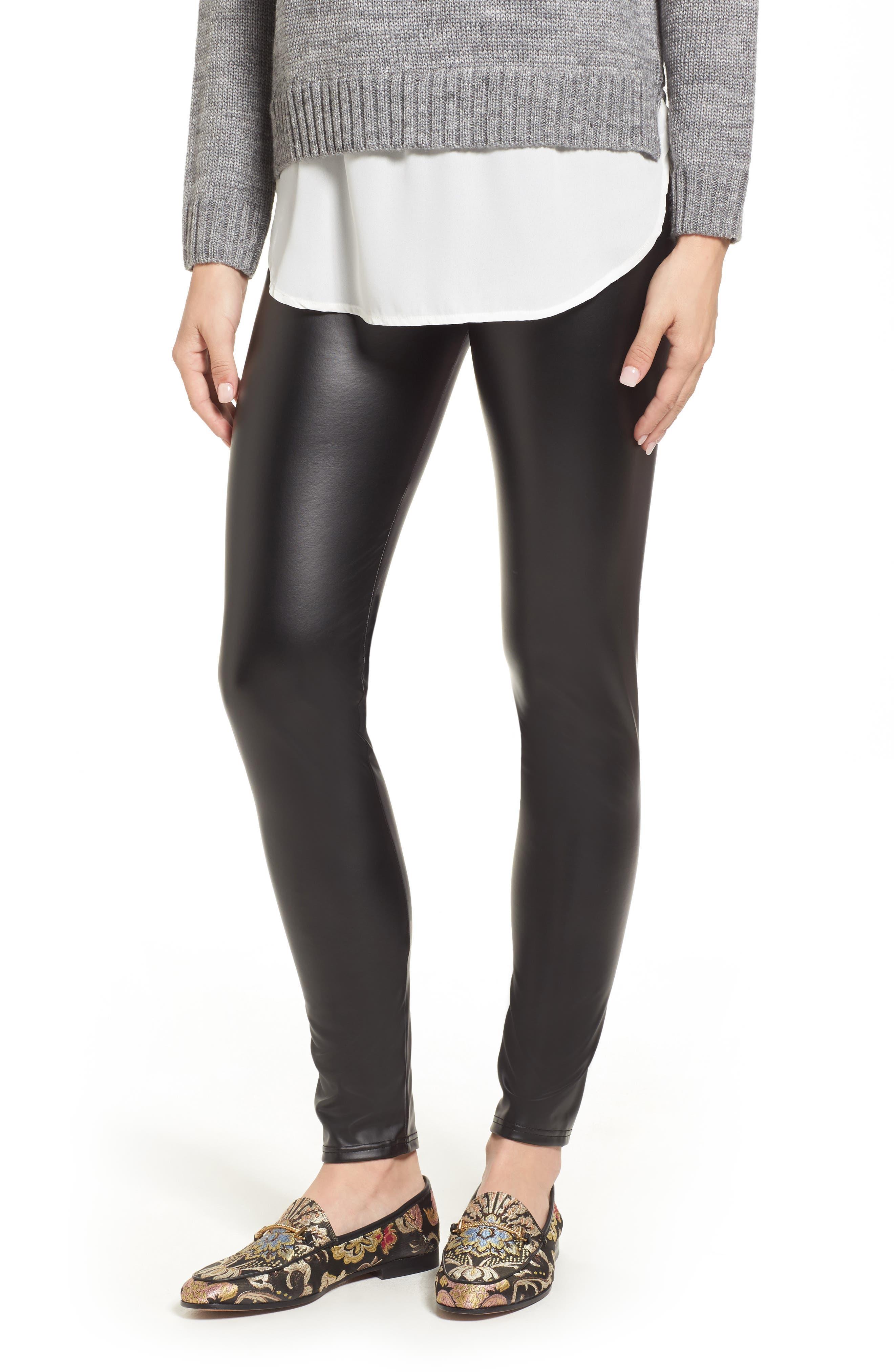 Plush Lined Faux Leather Leggings,                         Main,                         color, 001