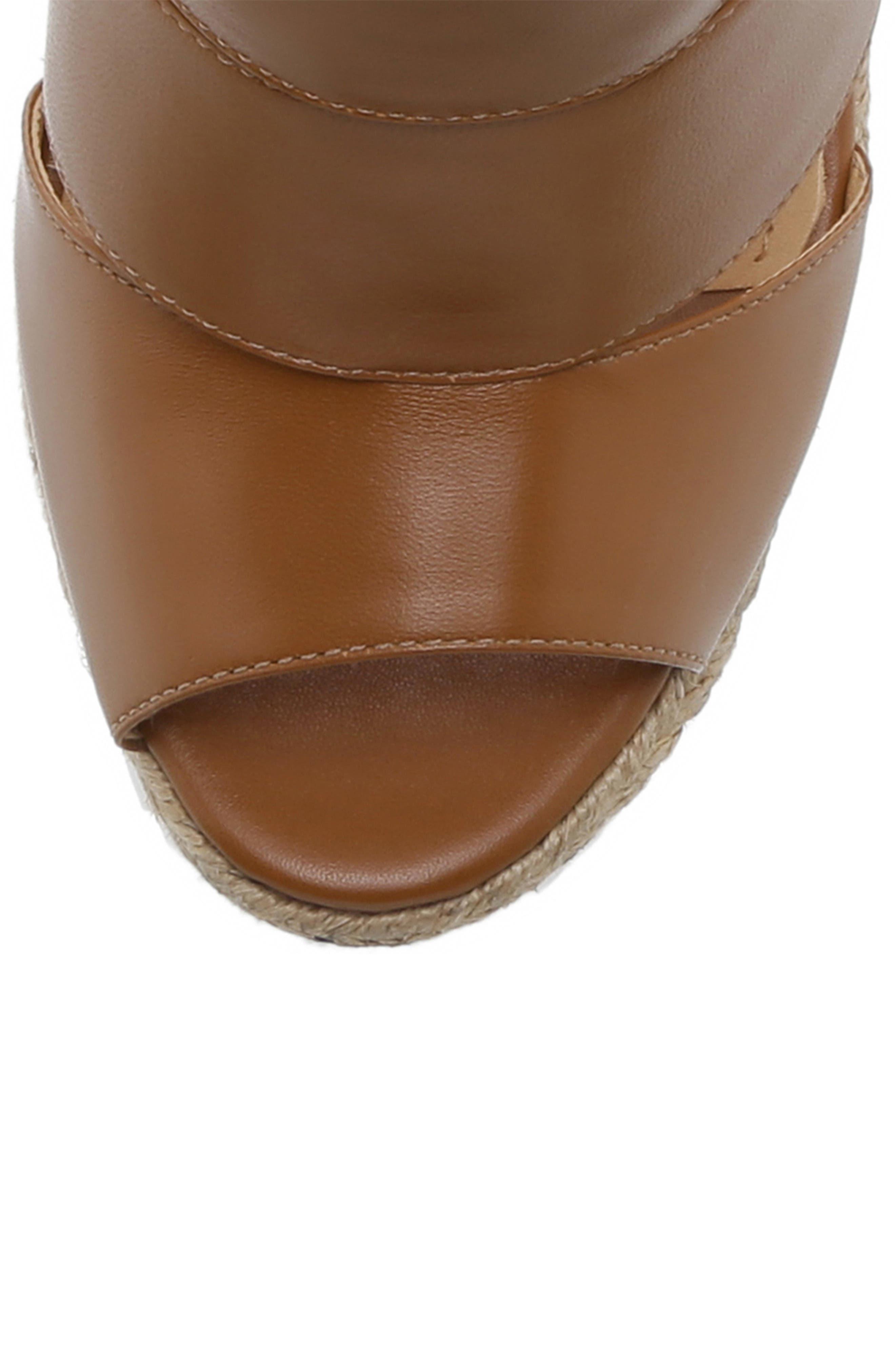 Ilione Platform Wedge Sandal,                             Alternate thumbnail 5, color,                             WOOD LEATHER