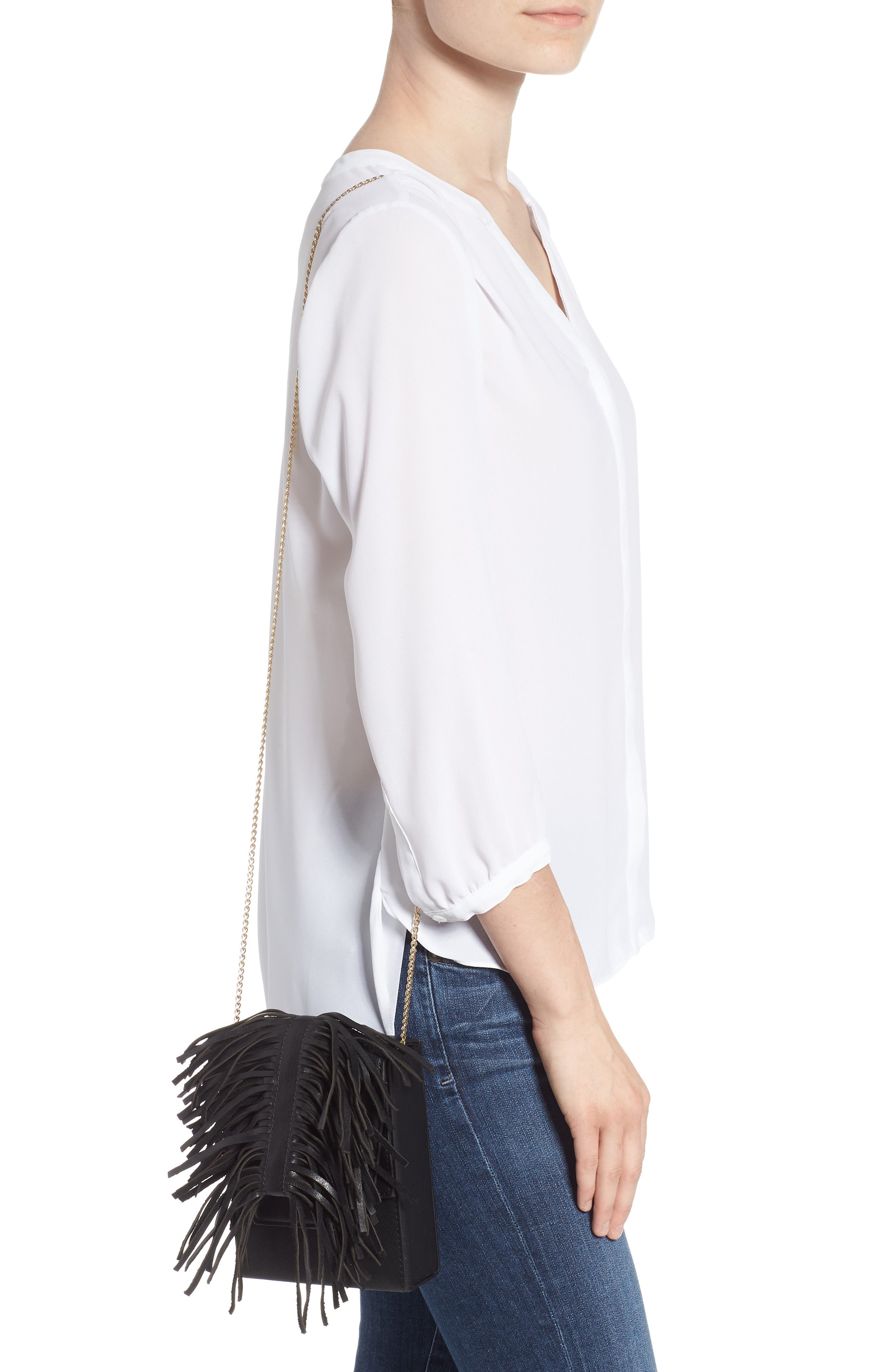 Alivia Leather Clutch,                             Alternate thumbnail 4, color,