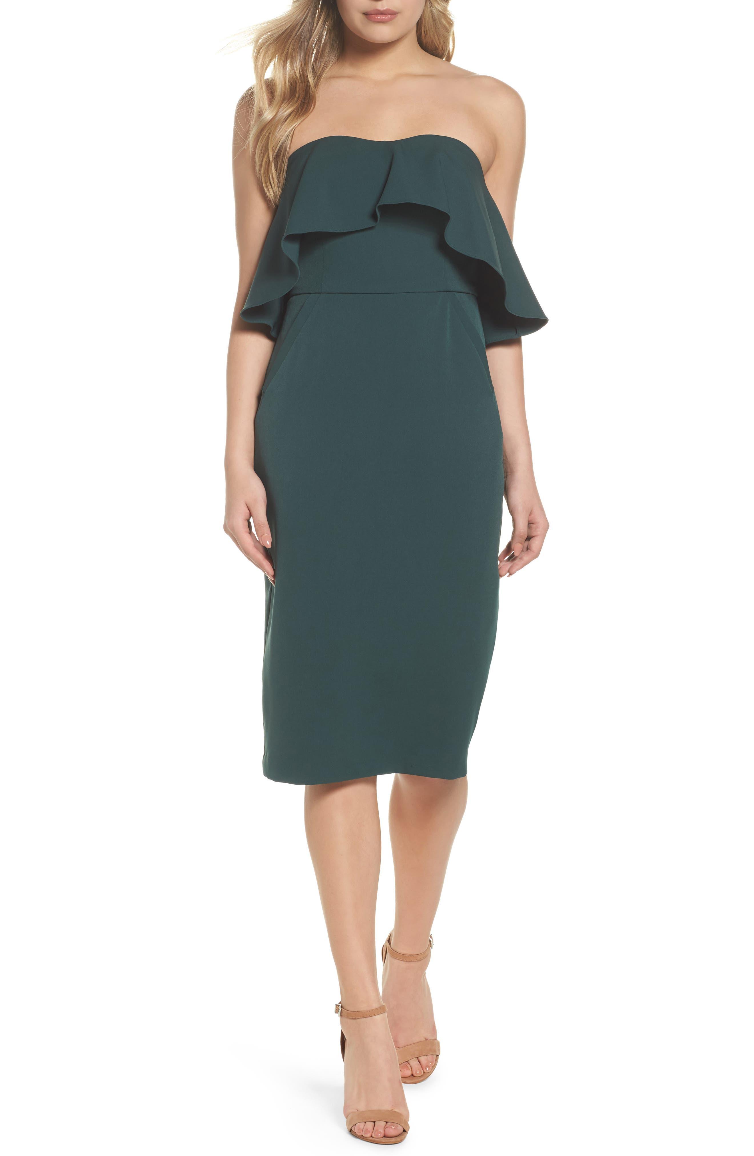 Ruffle Stretch Crepe Sheath Dress,                             Main thumbnail 2, color,