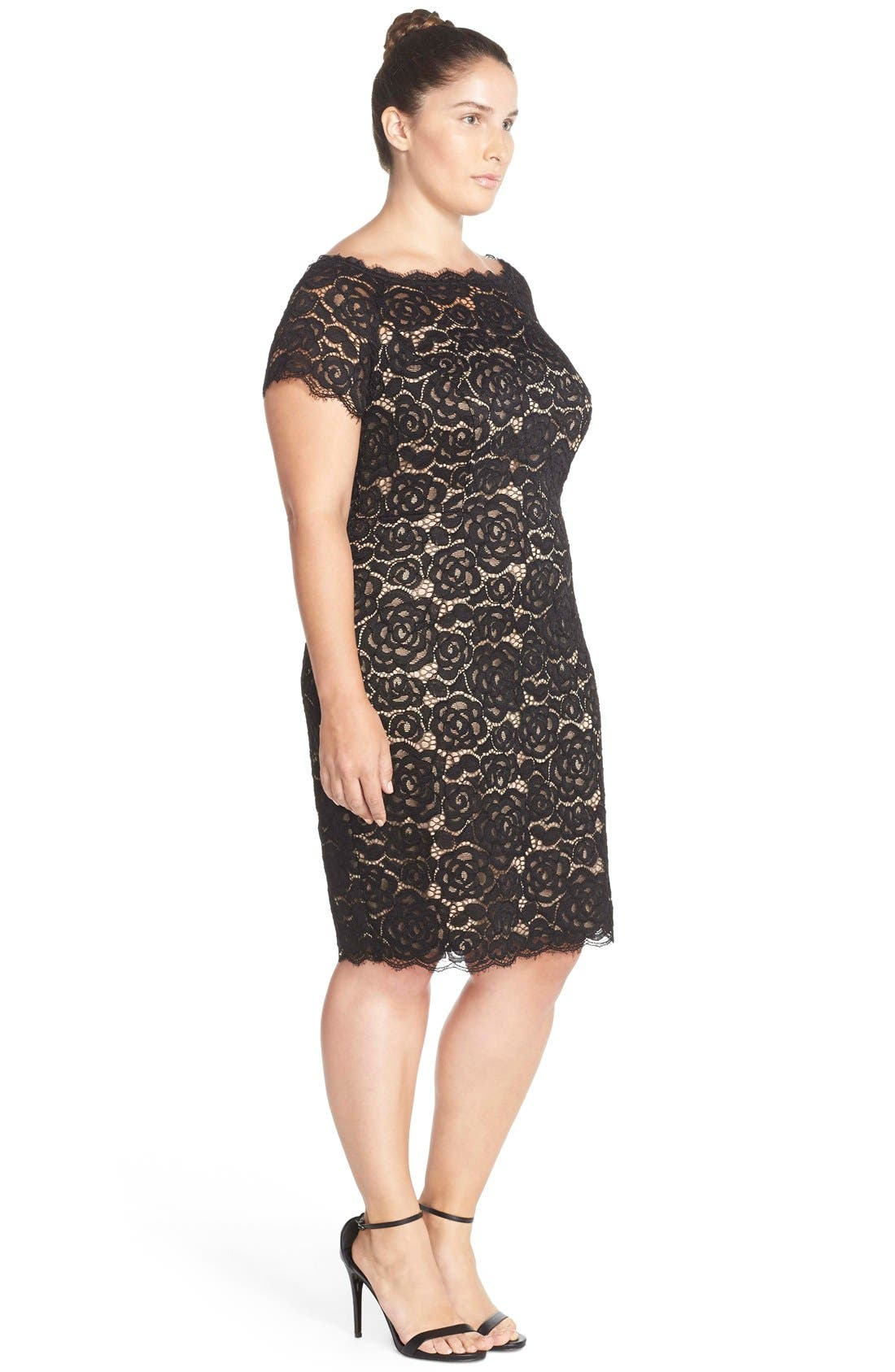 Off the Shoulder Lace Sheath Dress,                             Alternate thumbnail 6, color,                             BLACK/ NUDE