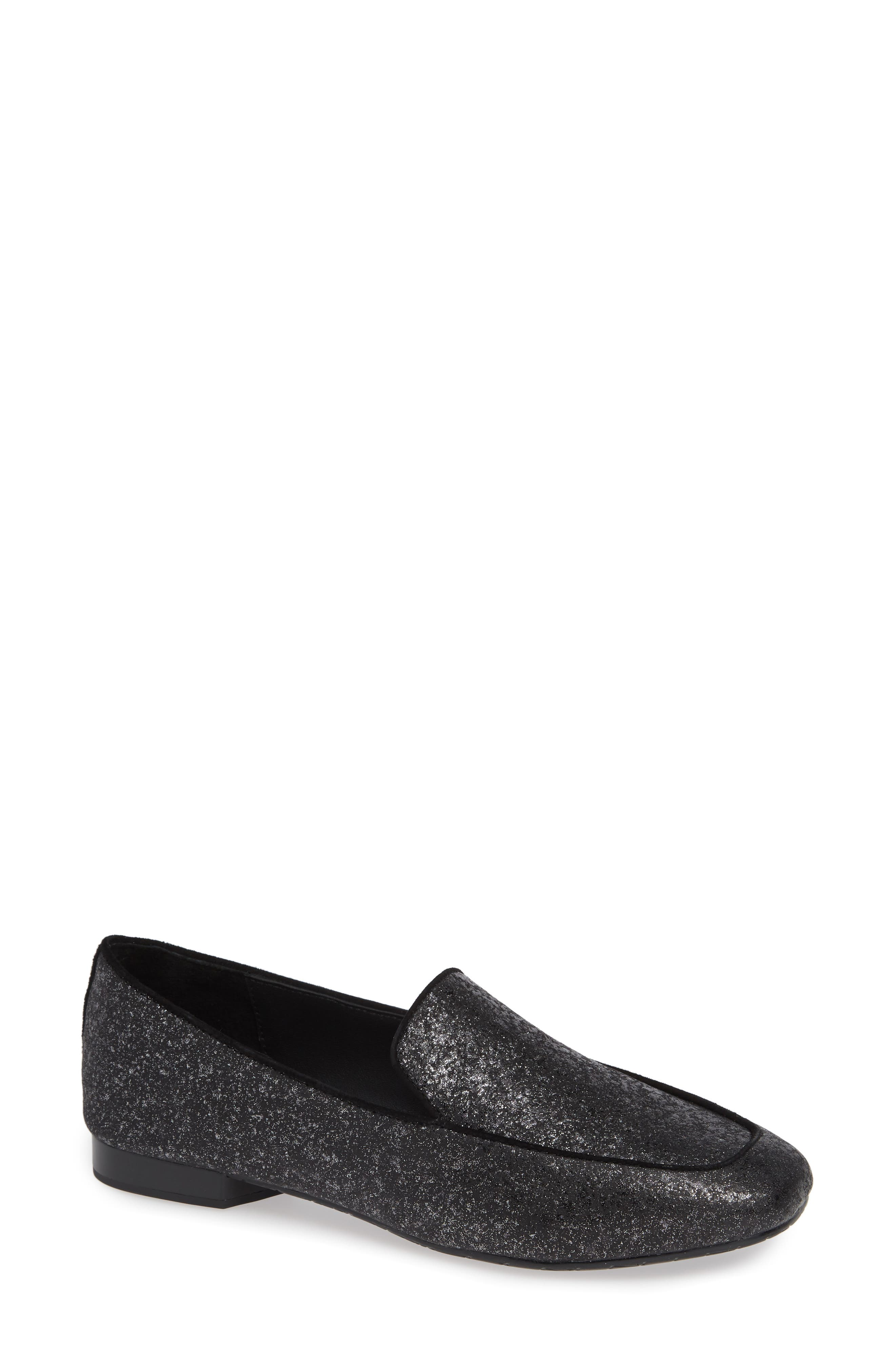 Heddy Loafer,                         Main,                         color, SILVER GLITTER SUEDE