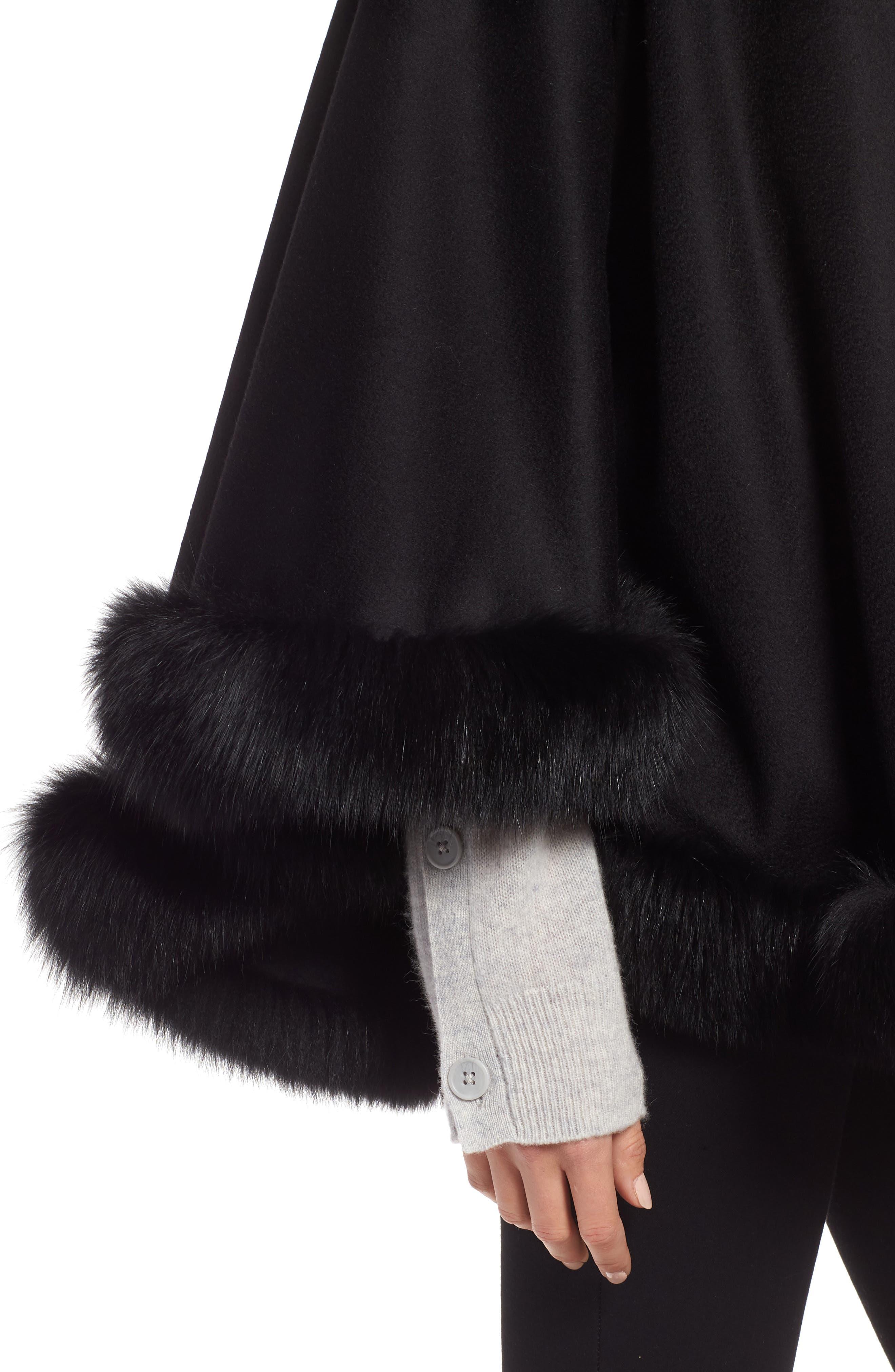 Petite Genuine Fox Fur Trim Cashmere Cape,                             Alternate thumbnail 4, color,                             BLACK