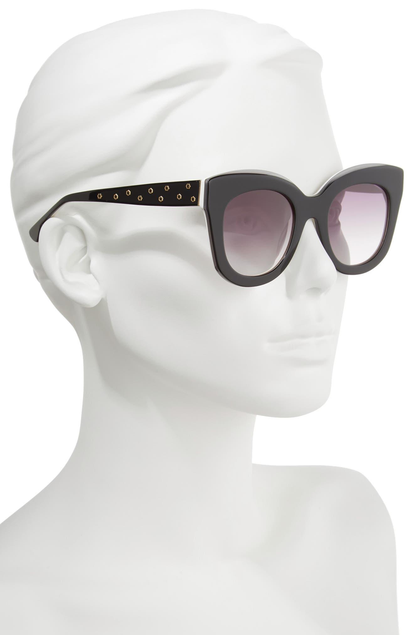 Downing 51mm Cat Eye Sunglasses,                             Alternate thumbnail 2, color,                             001
