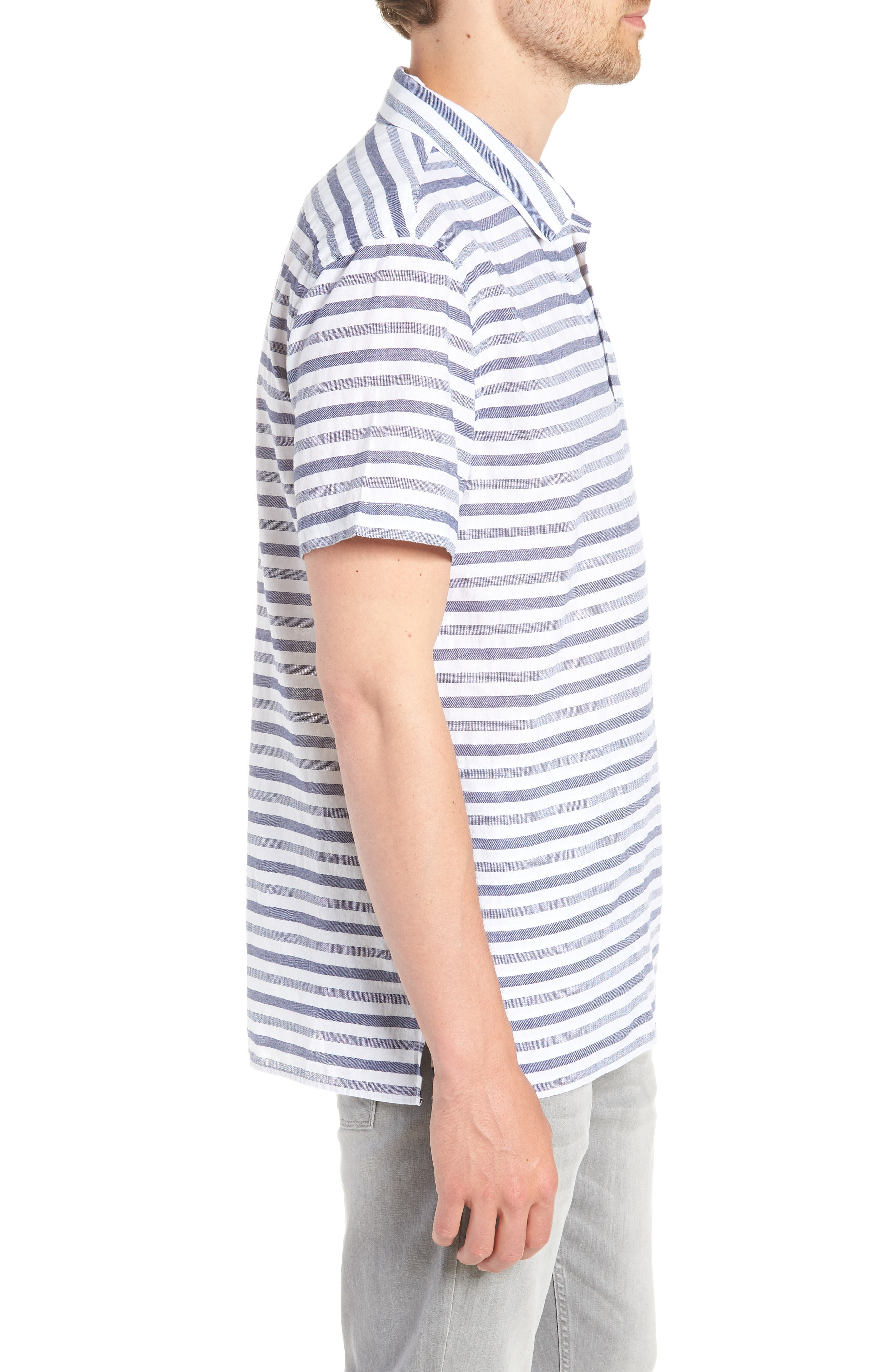 Beach Slim Fit Stripe Cotton & Linen Shirt,                             Alternate thumbnail 4, color,                             100