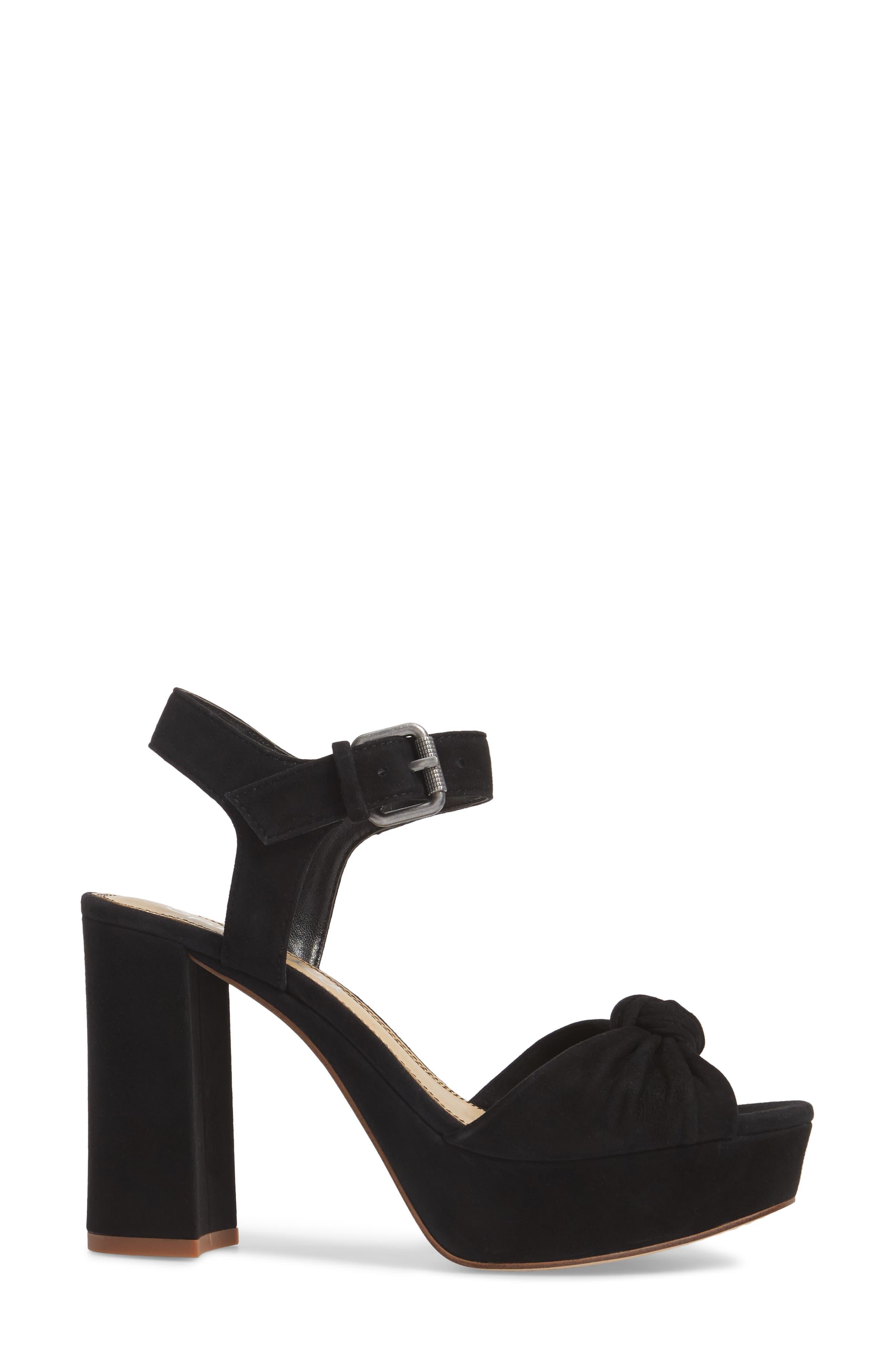 Bates Platform Sandal,                             Alternate thumbnail 3, color,                             BLACK SUEDE