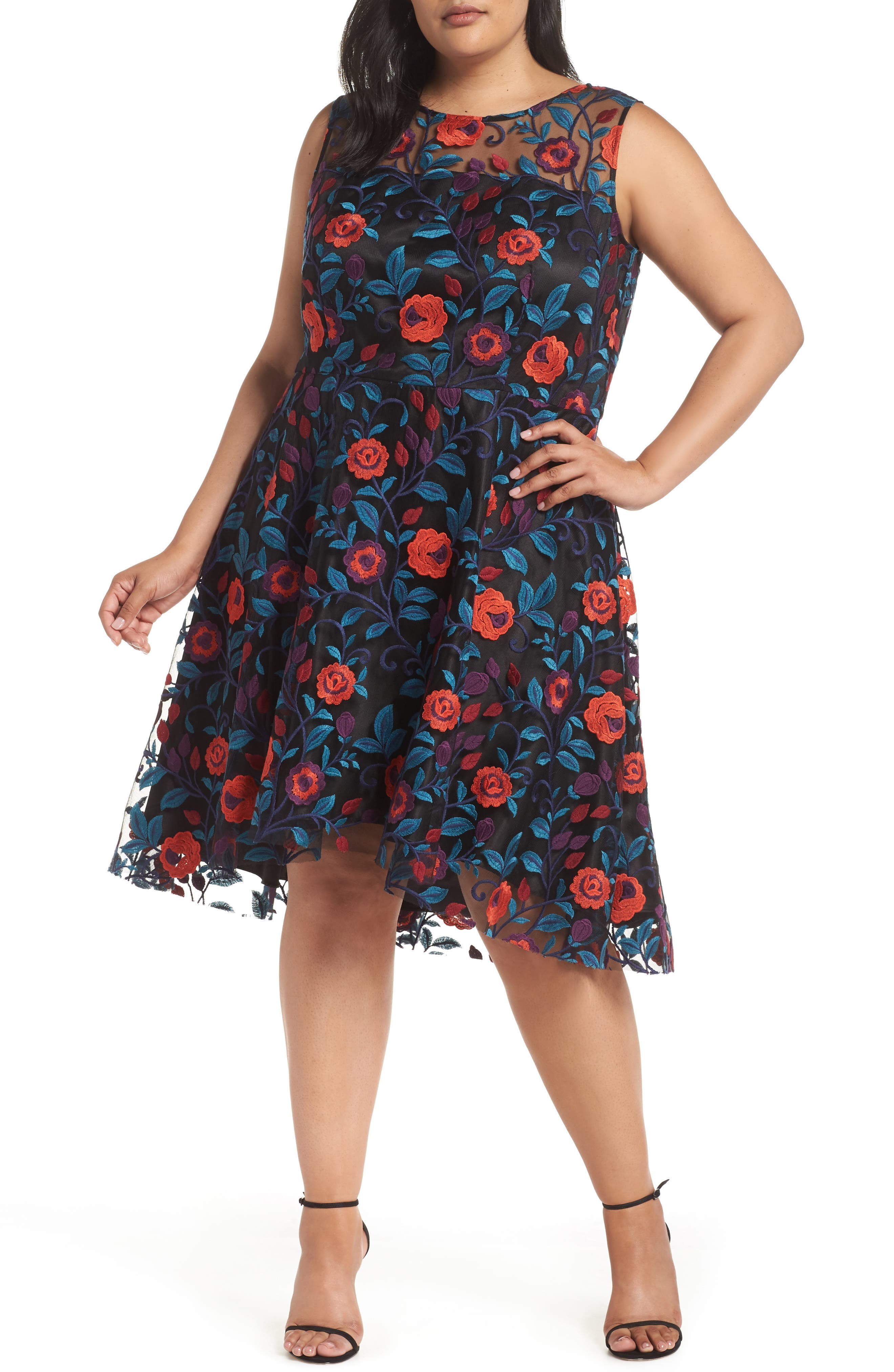 TAHARI Floral Embroidery Fit And Flare Dress in Black/ Teal/ Red