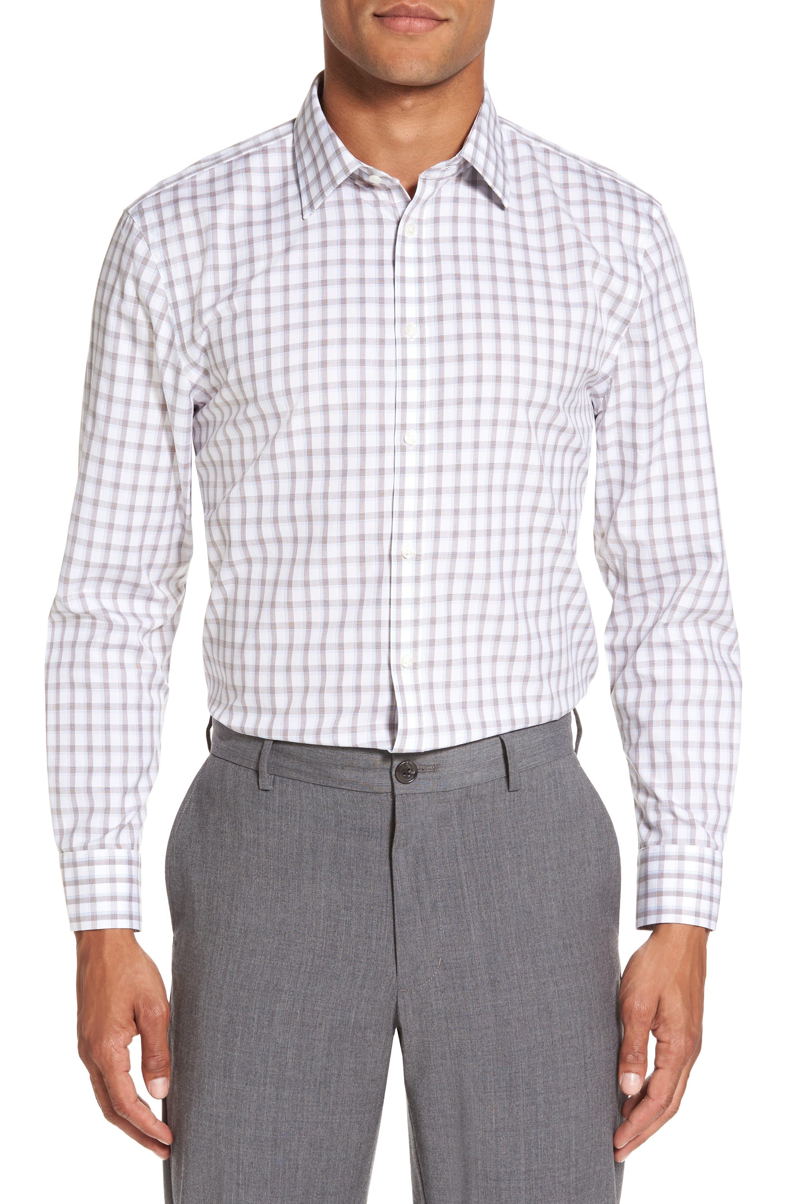 Smartcare<sup>™</sup> Extra Trim Fit Plaid Dress Shirt,                         Main,                         color, 210
