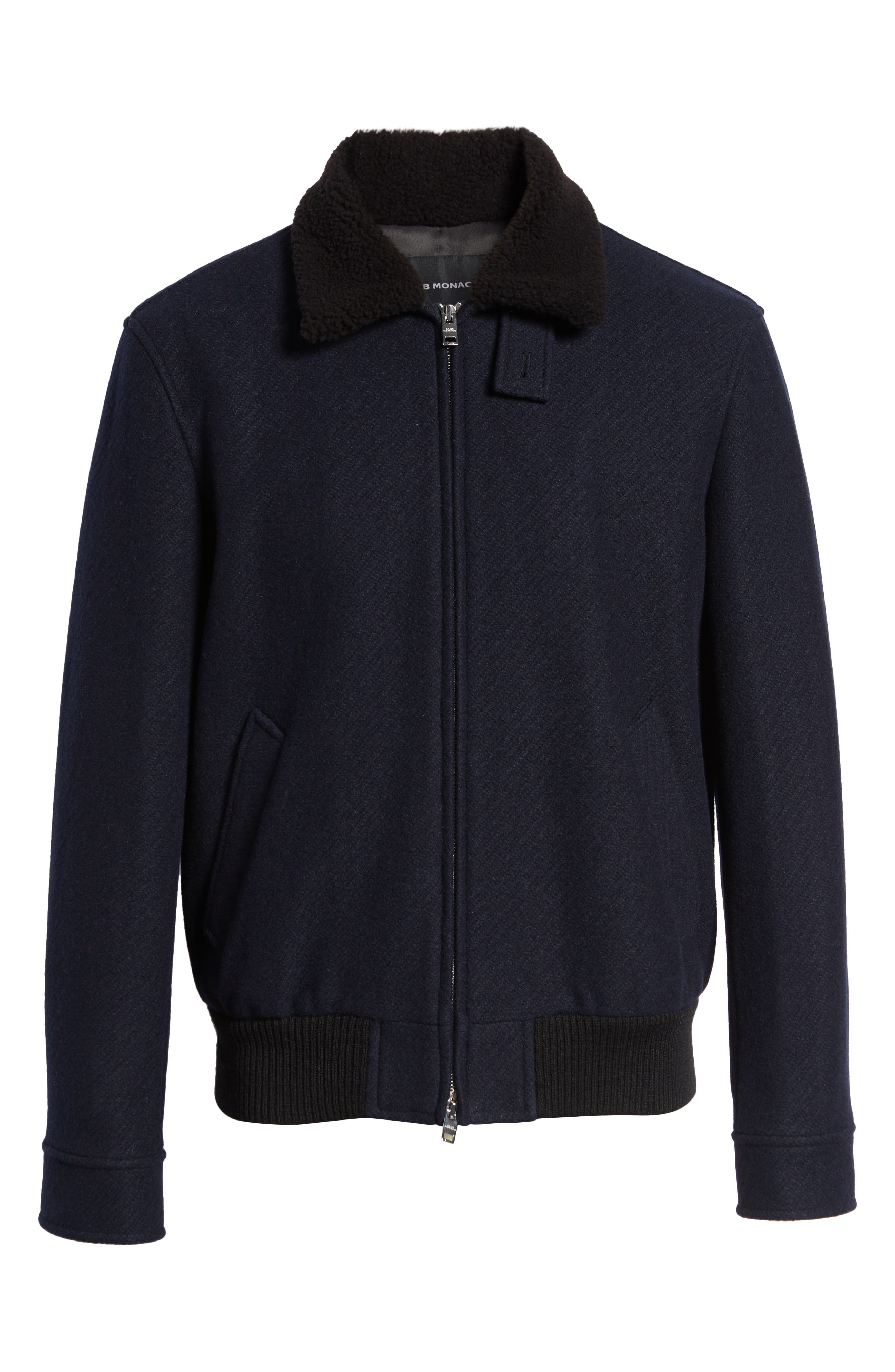 Trim Fit Bomber Jacket with Genuine Shearling Collar,                             Alternate thumbnail 5, color,                             NAVY