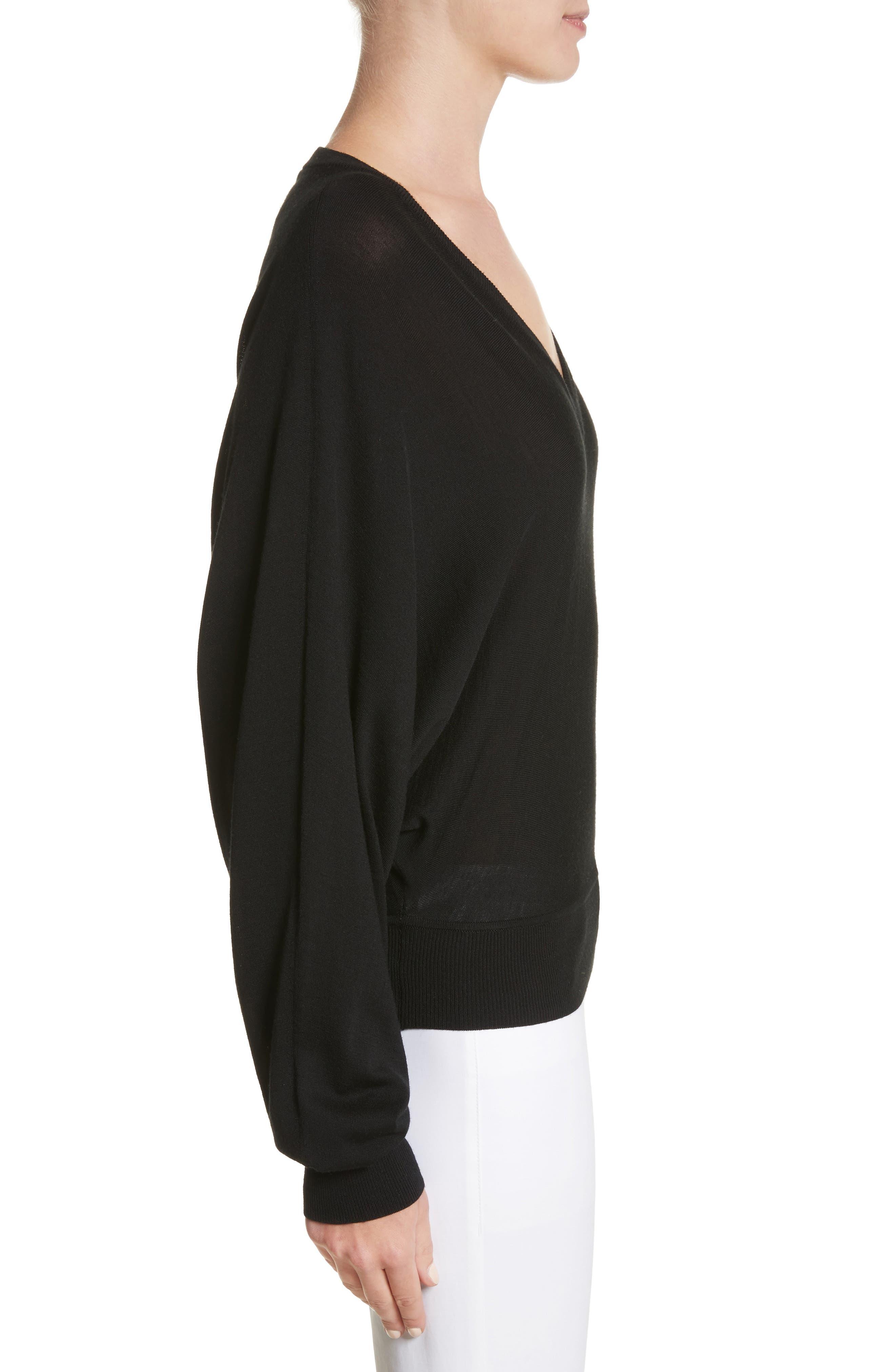 Merino Wool Blend Dolman Sweater,                             Alternate thumbnail 3, color,                             001