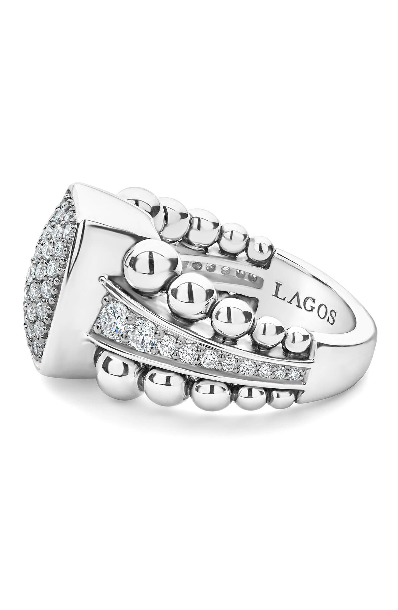 LAOGS Caviar Spark Vertical Statement Ring,                             Alternate thumbnail 3, color,                             SILVER/ DIAMOND