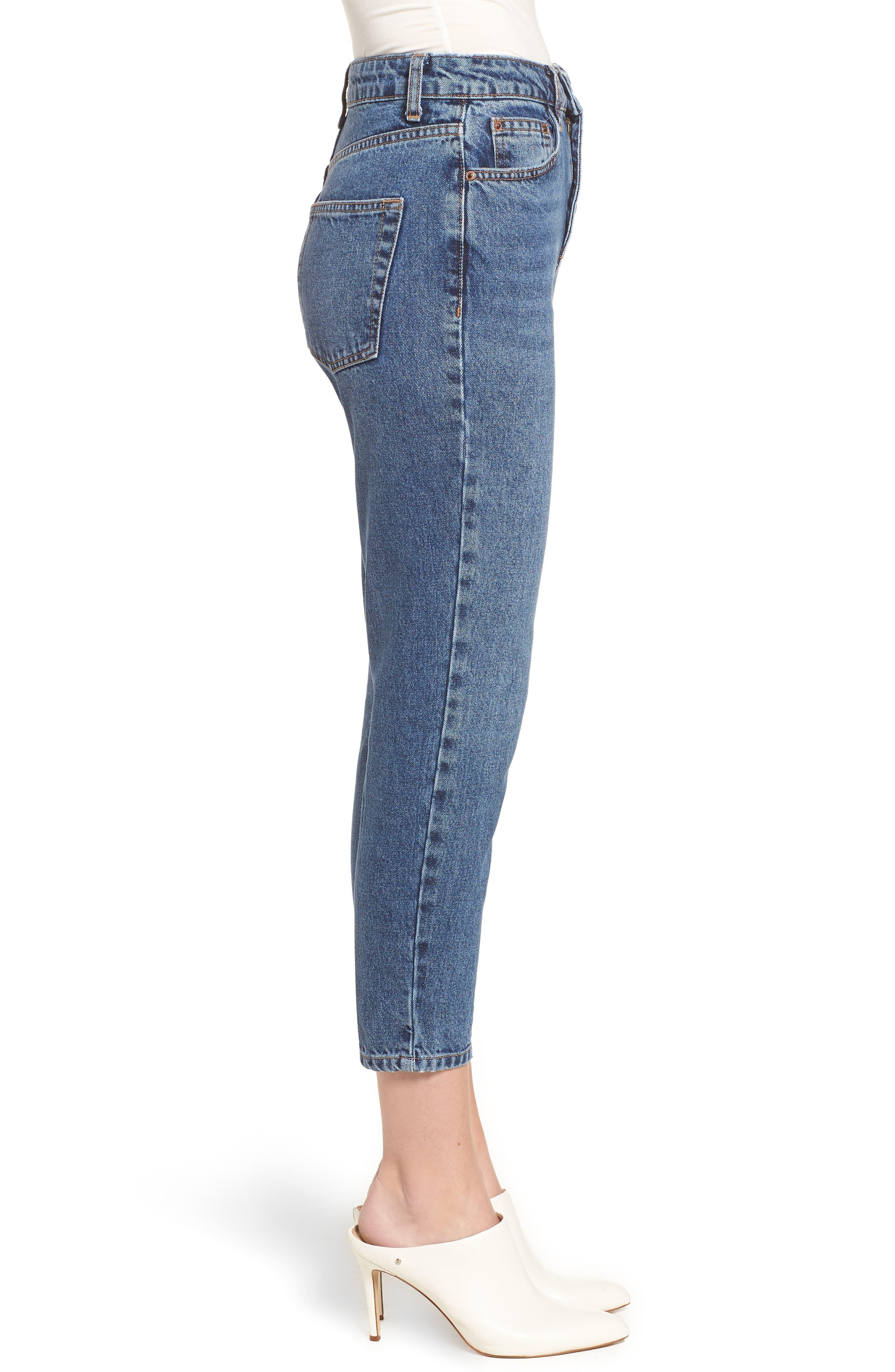Petite Mid Denim Mom Jeans,                             Alternate thumbnail 3, color,                             MID DENIM
