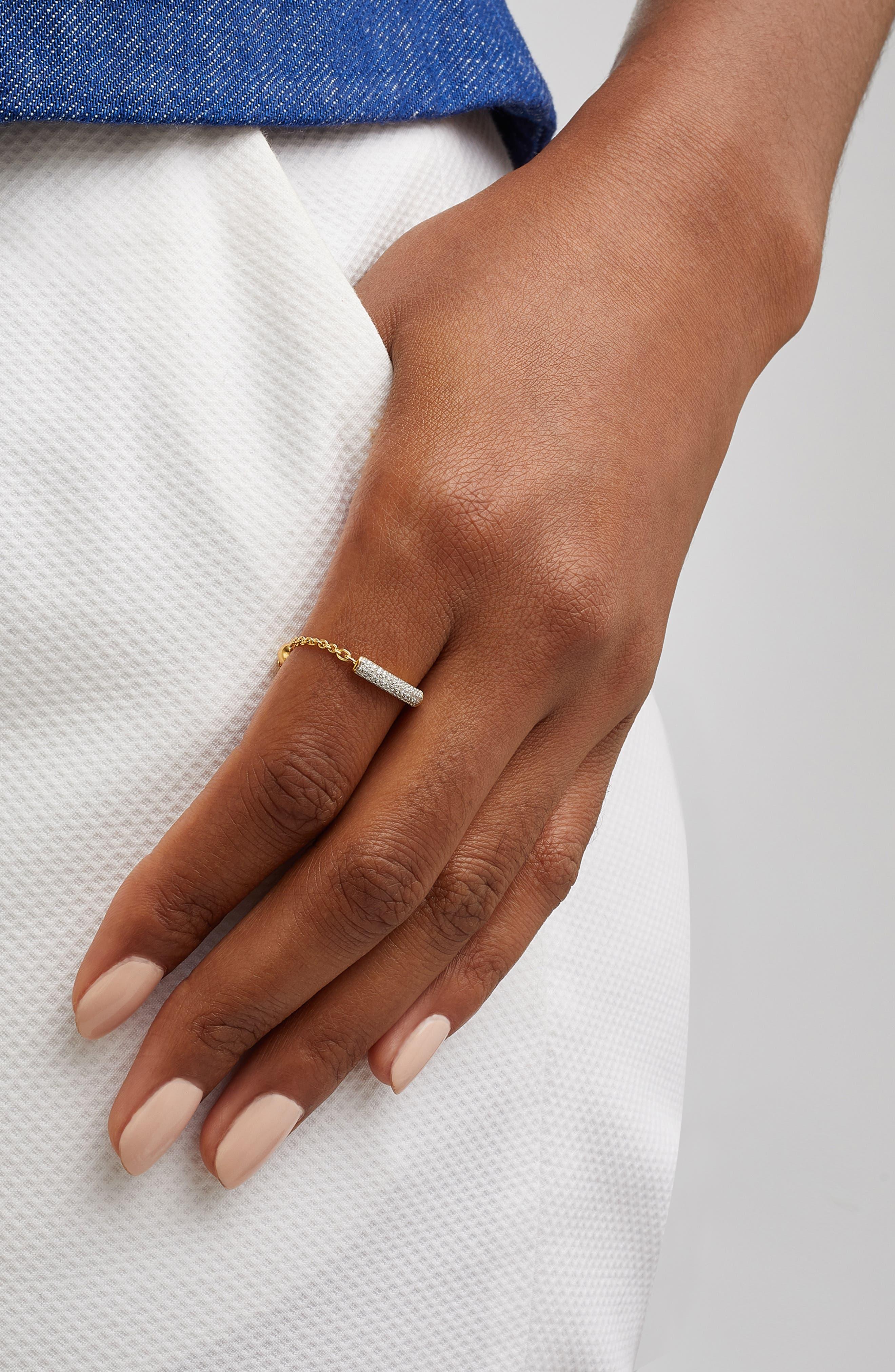 Fiji Bar Friendship Diamond Chain Ring,                             Alternate thumbnail 2, color,                             METALLIC GOLD/ DIAMOND