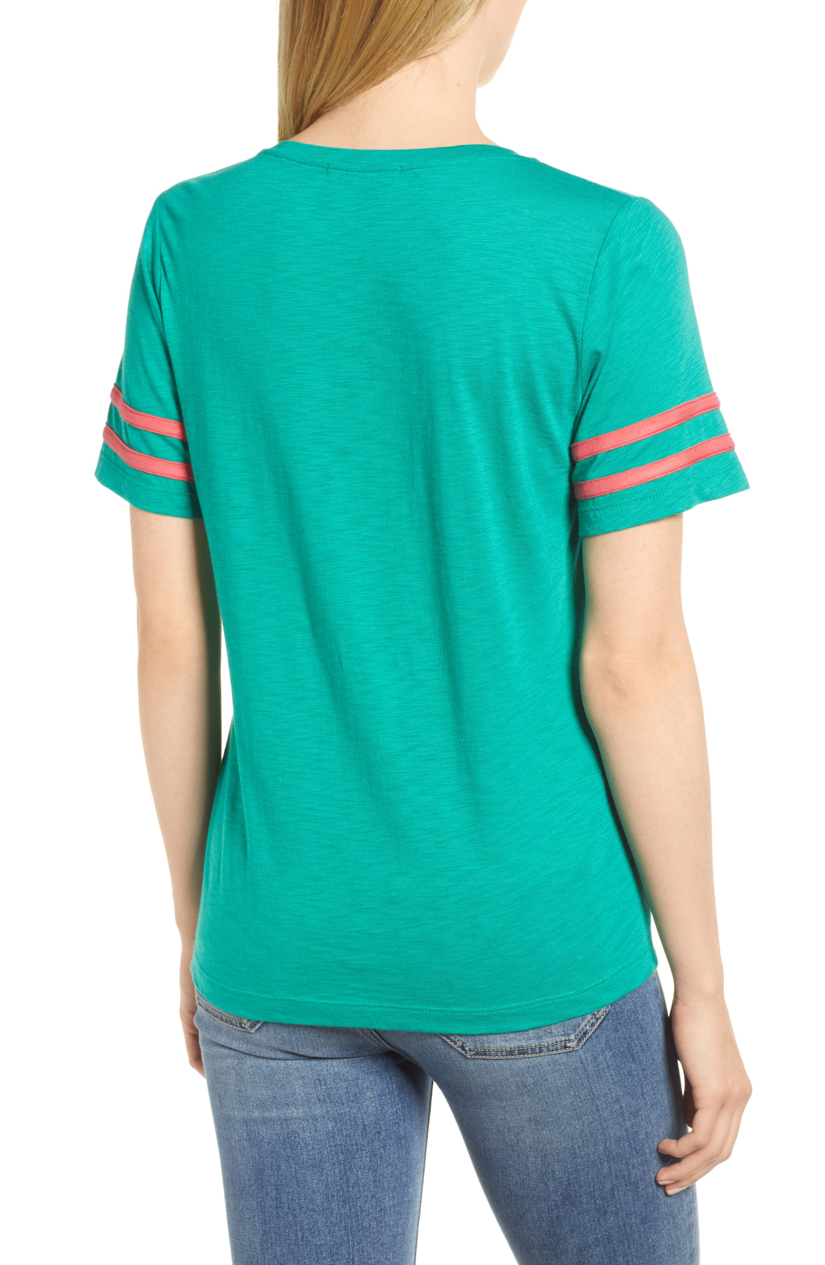 Stripe Sleeve Cotton Blend Athletic Tee,                             Alternate thumbnail 7, color,