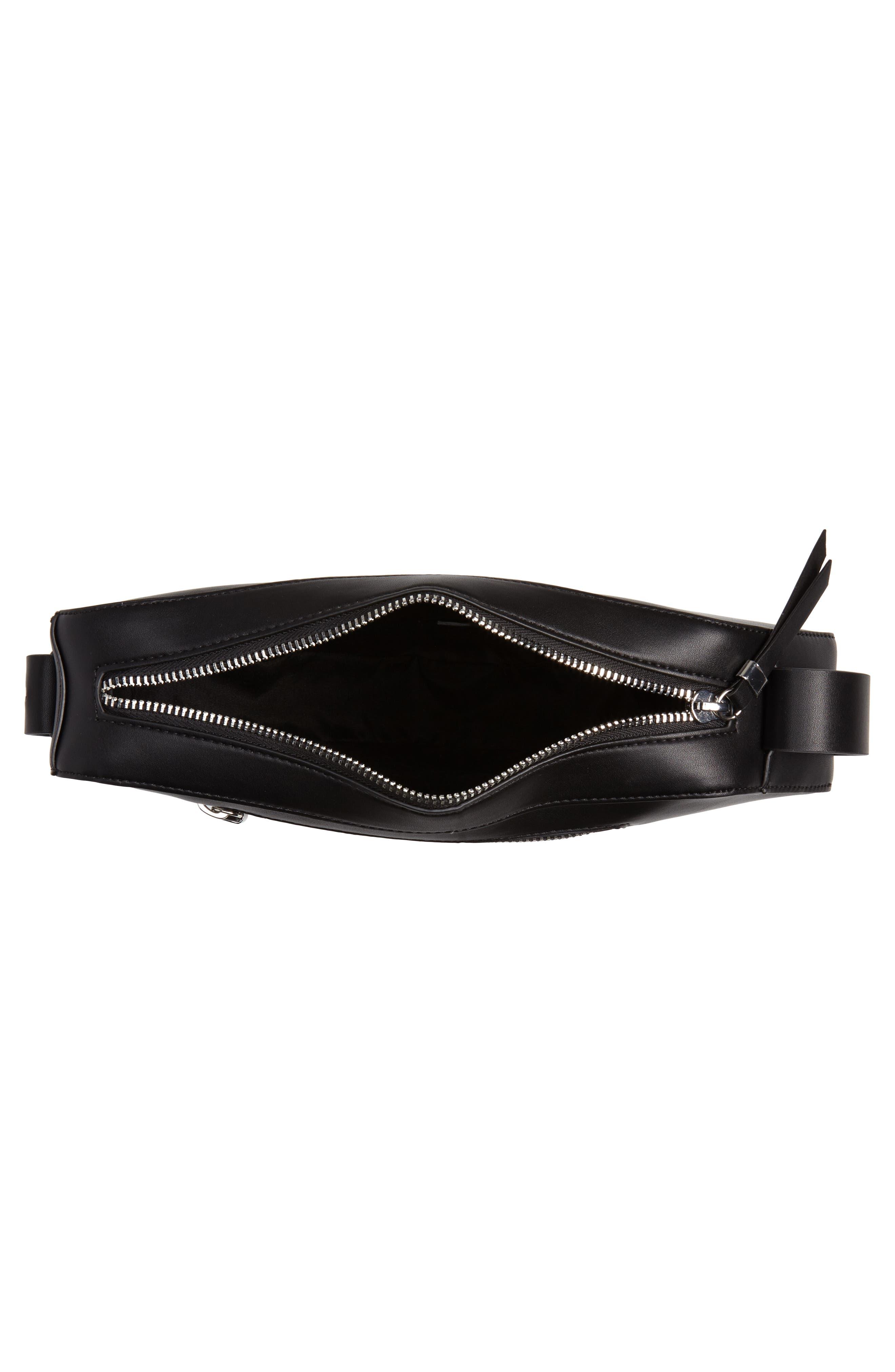 Triangle Zip Shoulder Bag,                             Alternate thumbnail 4, color,                             001