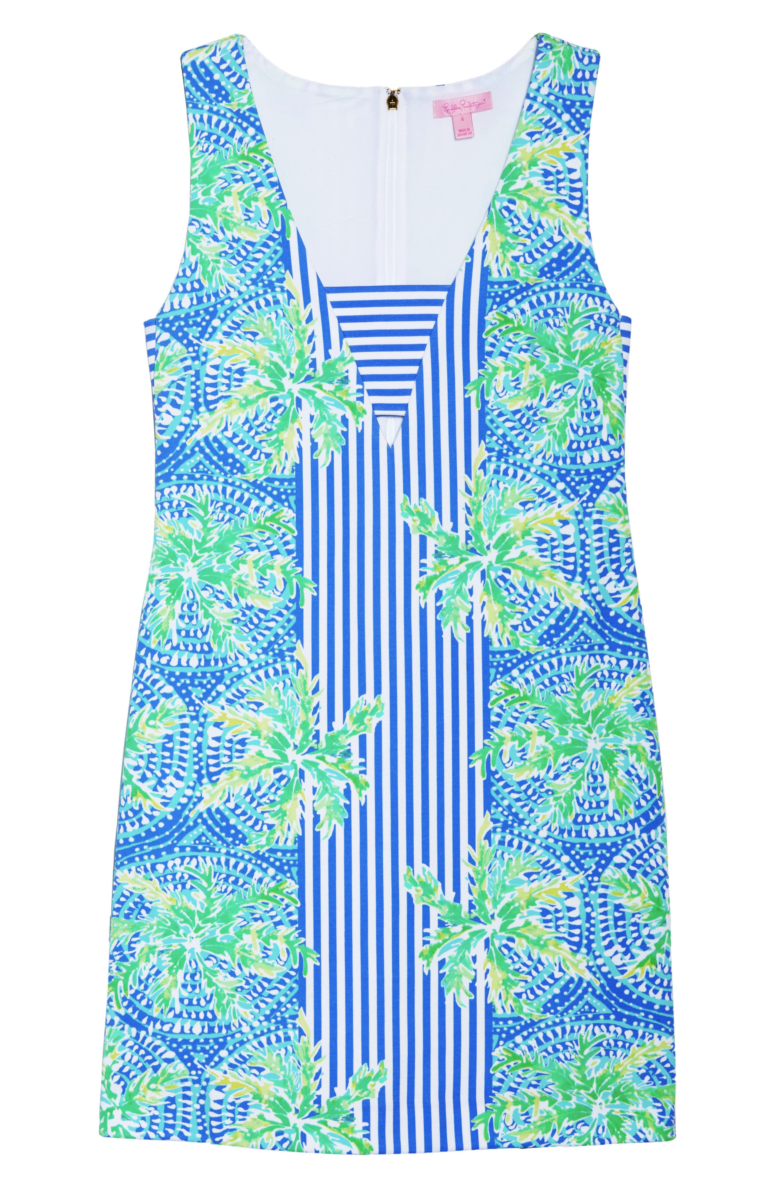 Chiara Stripe & Floral Print Dress,                             Alternate thumbnail 7, color,                             BENNET BLUE TROPIC LIKE ITS