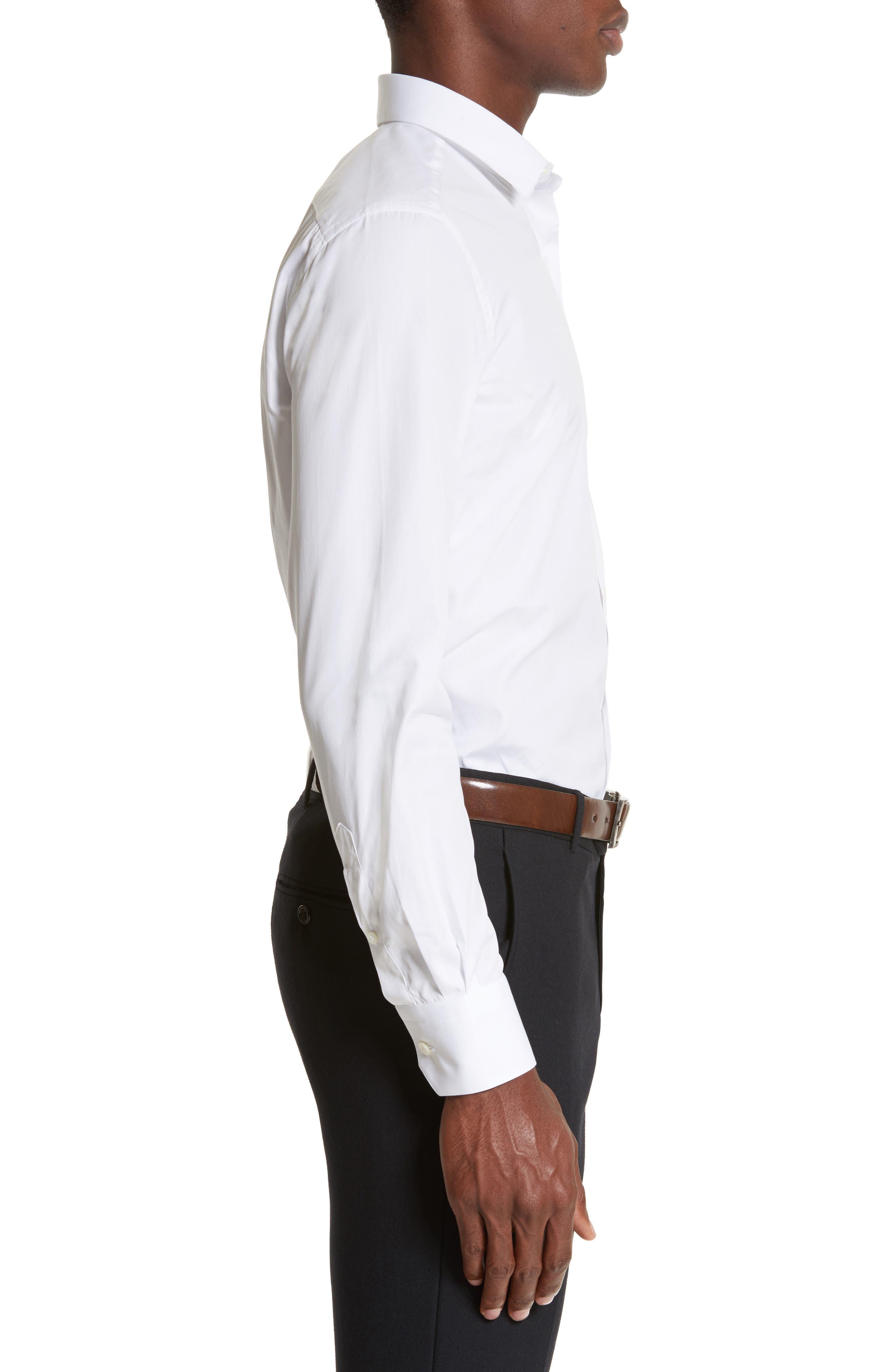 Extra Trim Fit Cotton Dress Shirt,                             Alternate thumbnail 4, color,                             100