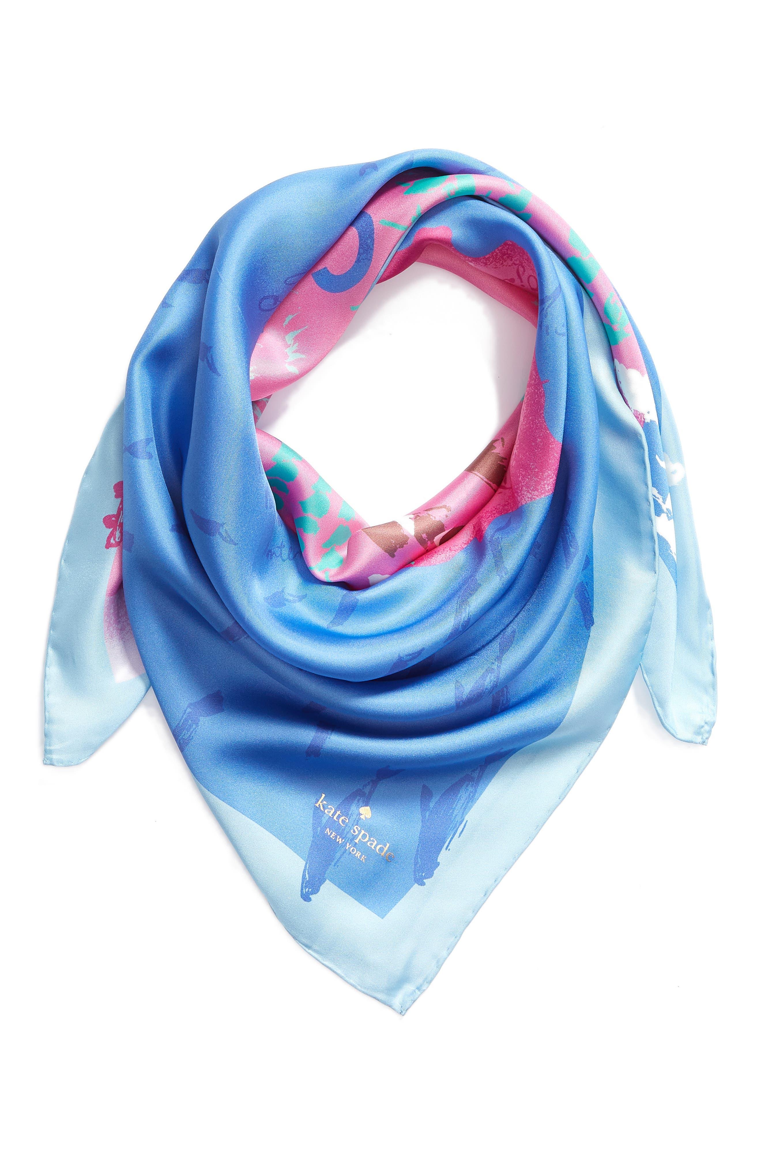california map square silk scarf,                             Alternate thumbnail 2, color,                             501