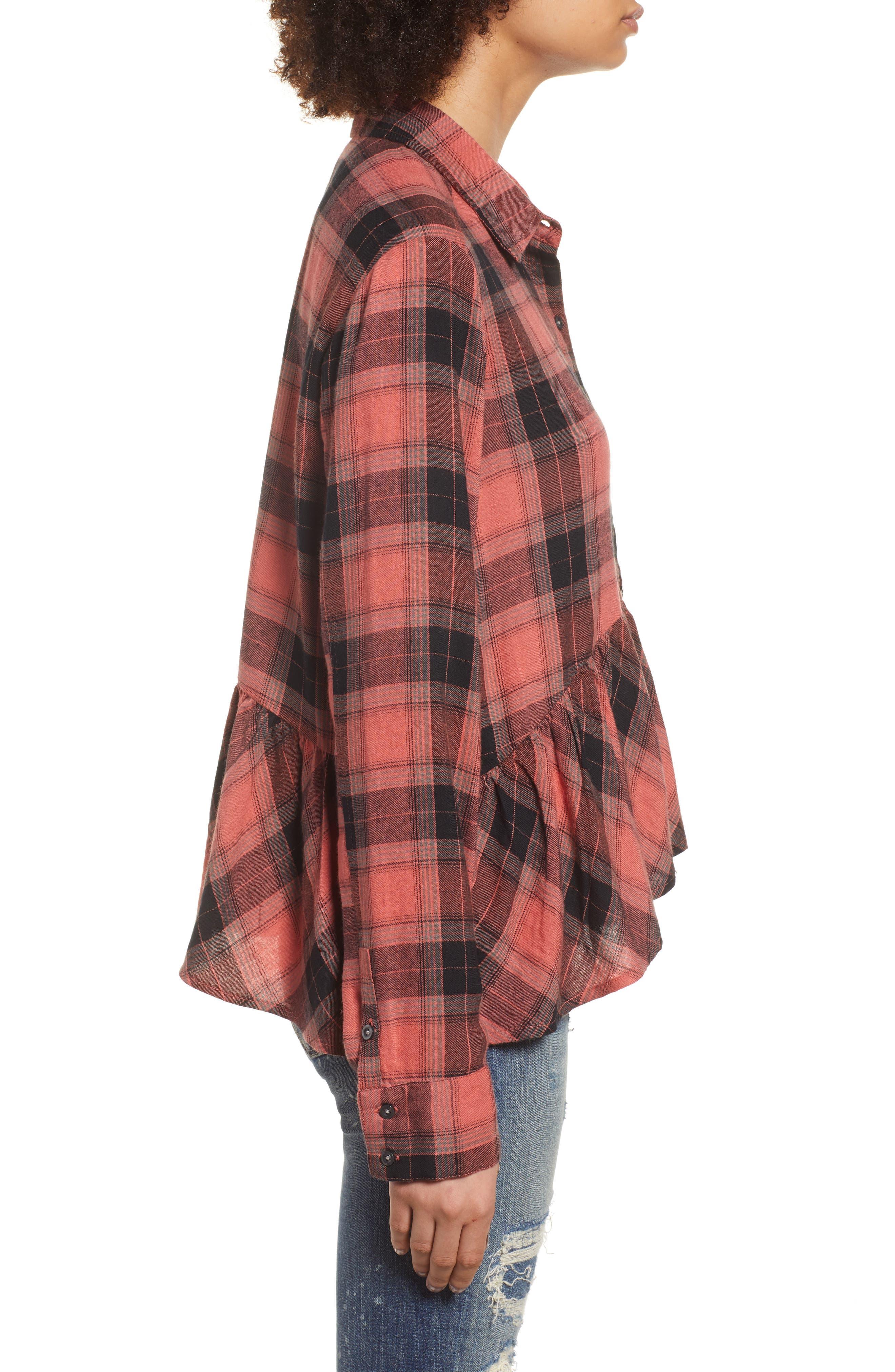 Plaid Peplum Shirt,                             Alternate thumbnail 3, color,                             PINK CEDAR SKETCHY PLAID