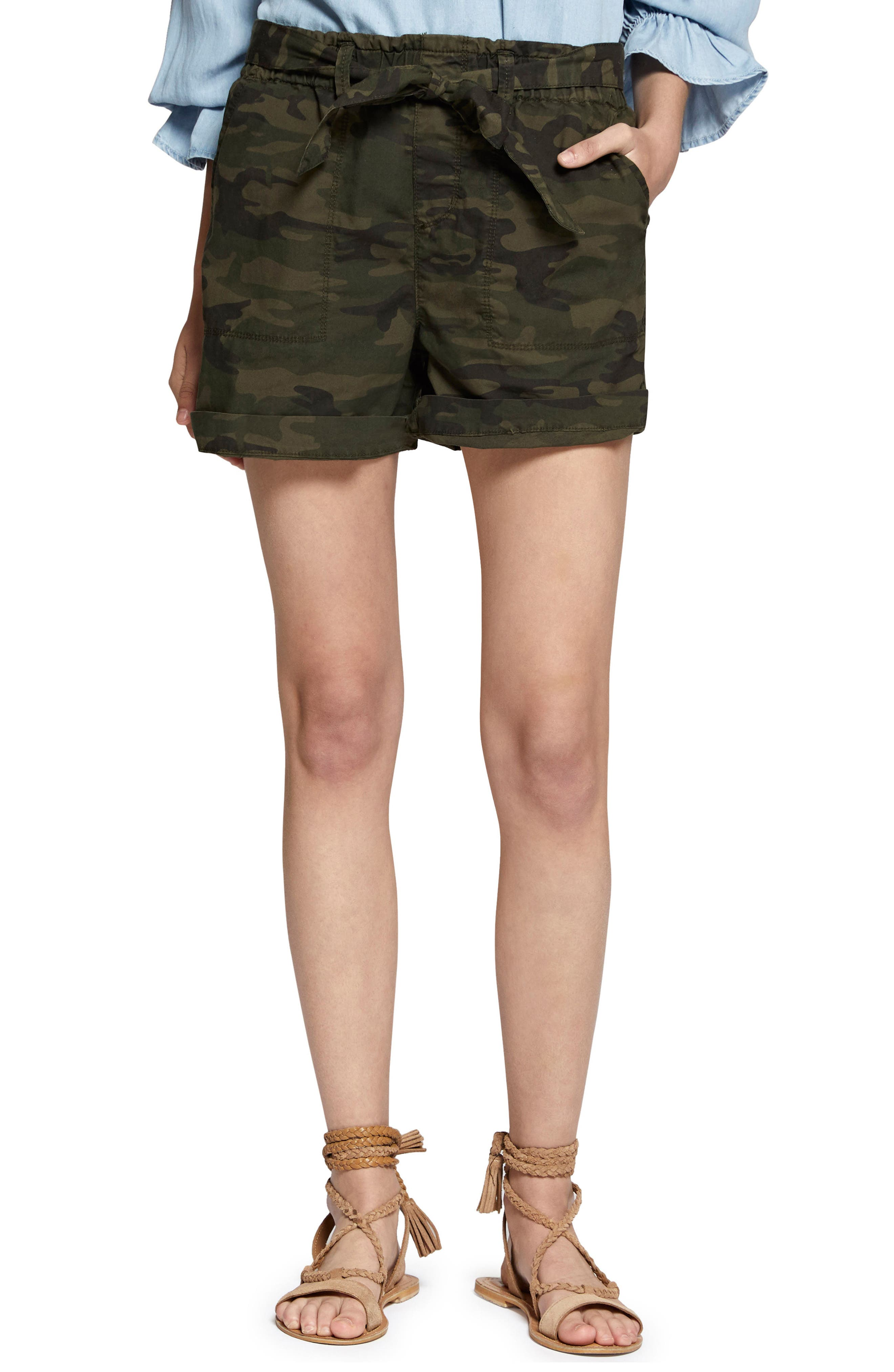 Daydreamer Stretch Cotton Camo Shorts,                         Main,                         color, 398