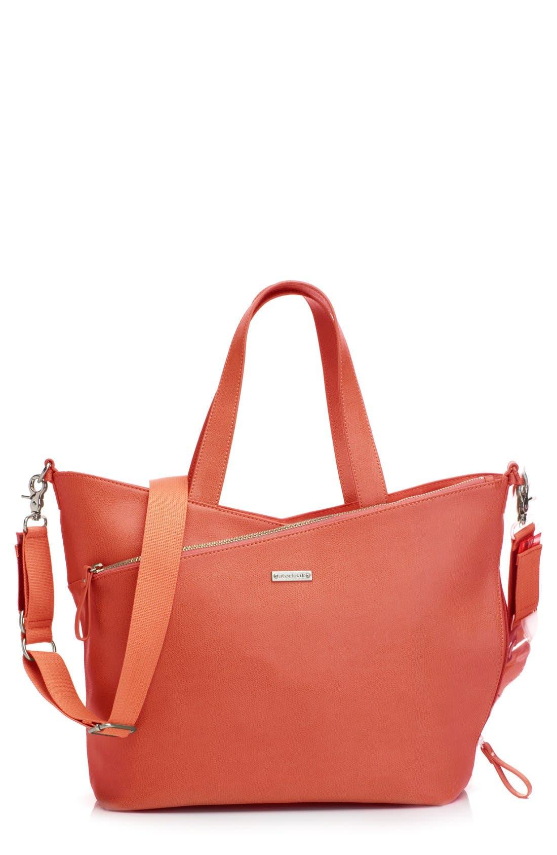 'Lucinda' Diaper Bag Leather Tote,                             Main thumbnail 3, color,