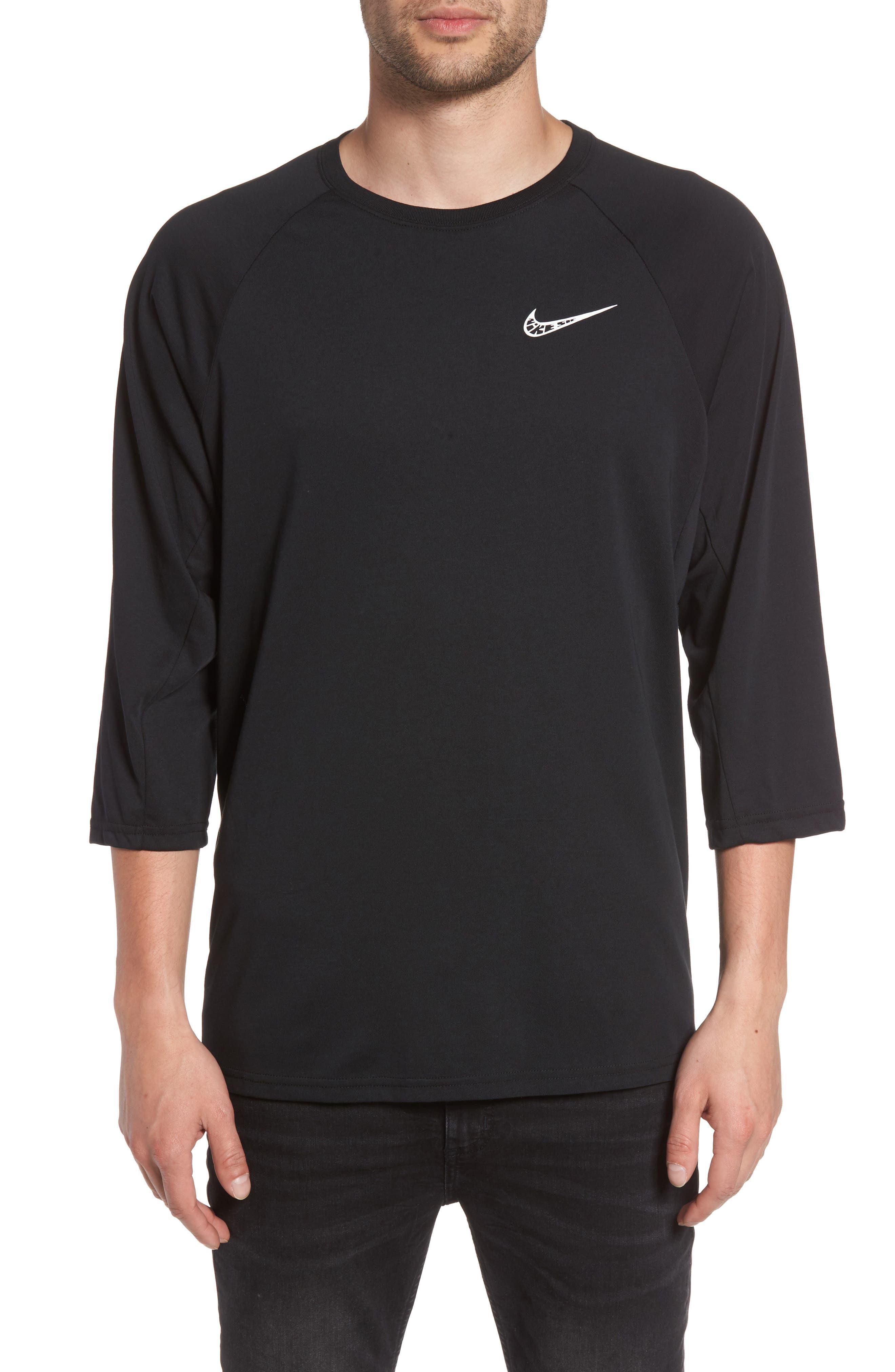 Dry Baseball T-Shirt,                             Main thumbnail 1, color,                             BLACK/ BLACK/ WHITE