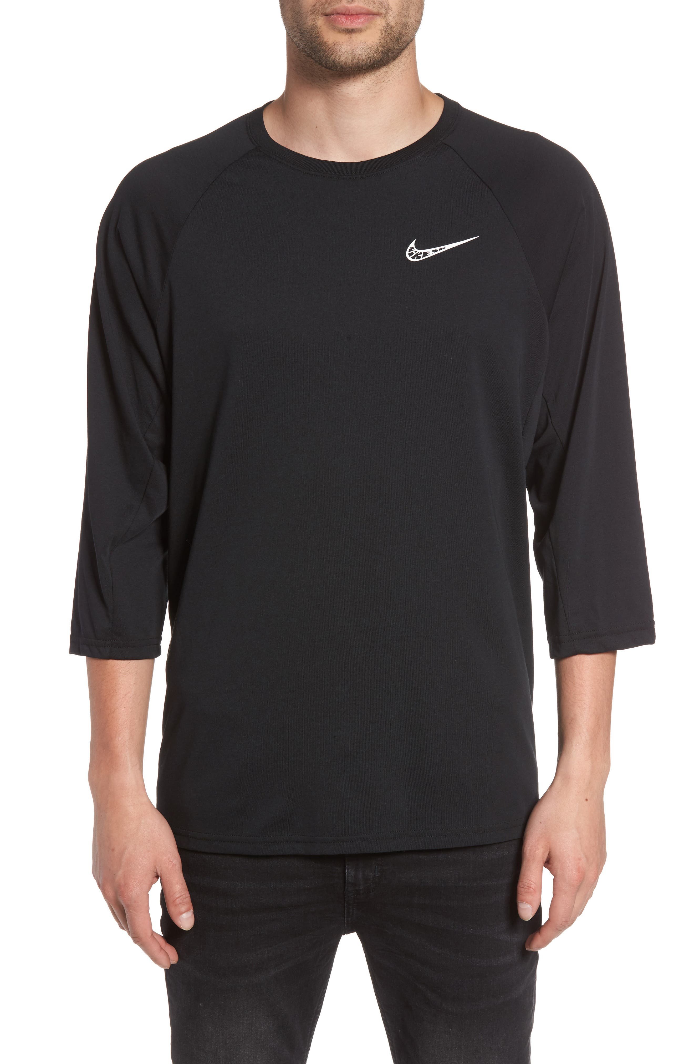 Dry Baseball T-Shirt,                         Main,                         color, BLACK/ BLACK/ WHITE