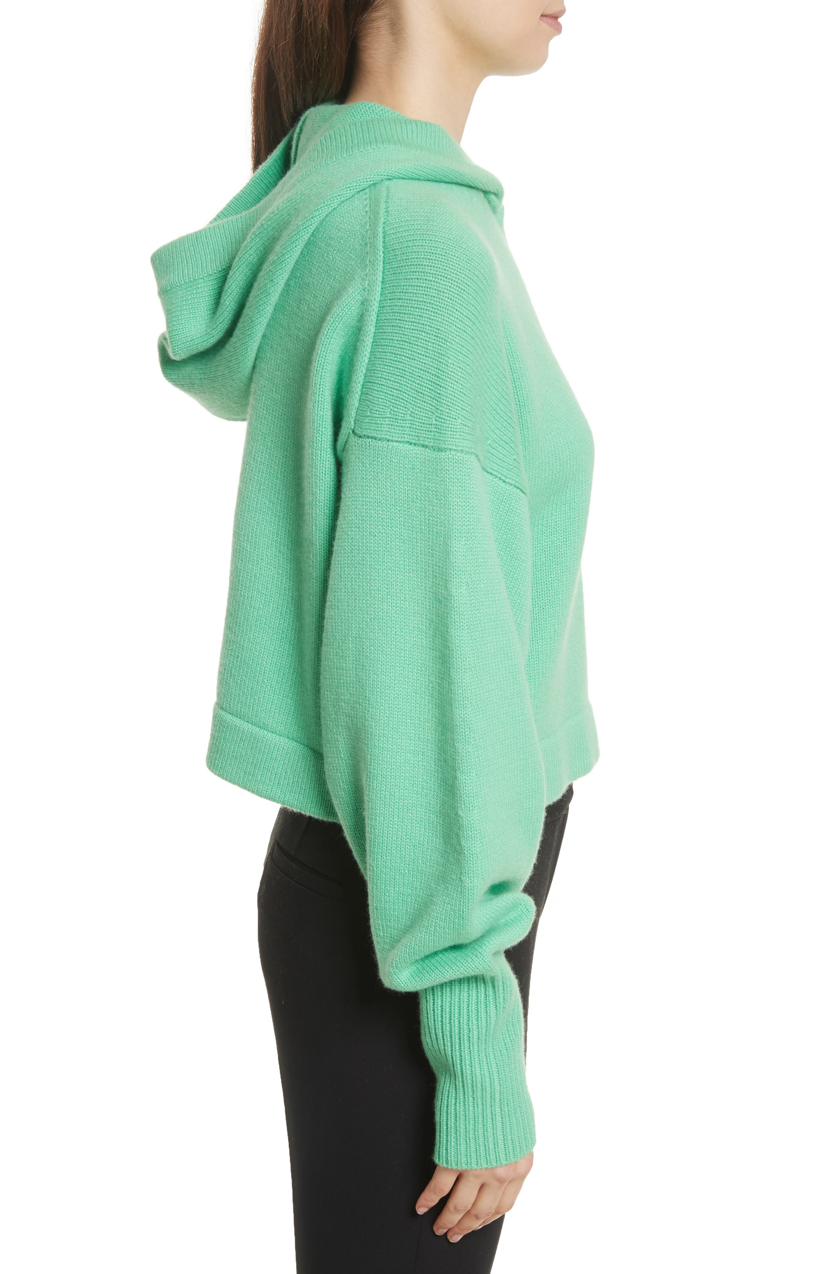 Blouson Sleeve Cashmere Hoodie,                             Alternate thumbnail 6, color,