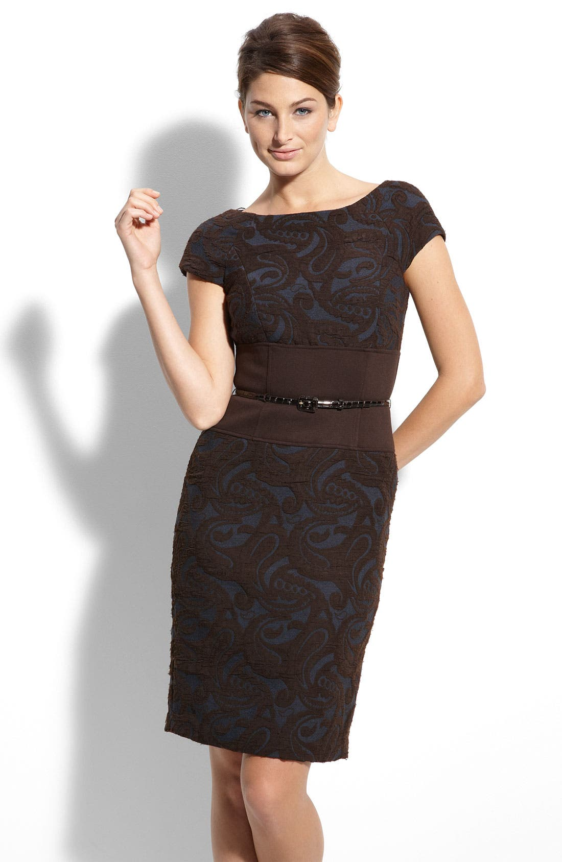 Belted Jacquard Sheath Dress,                             Main thumbnail 1, color,                             200