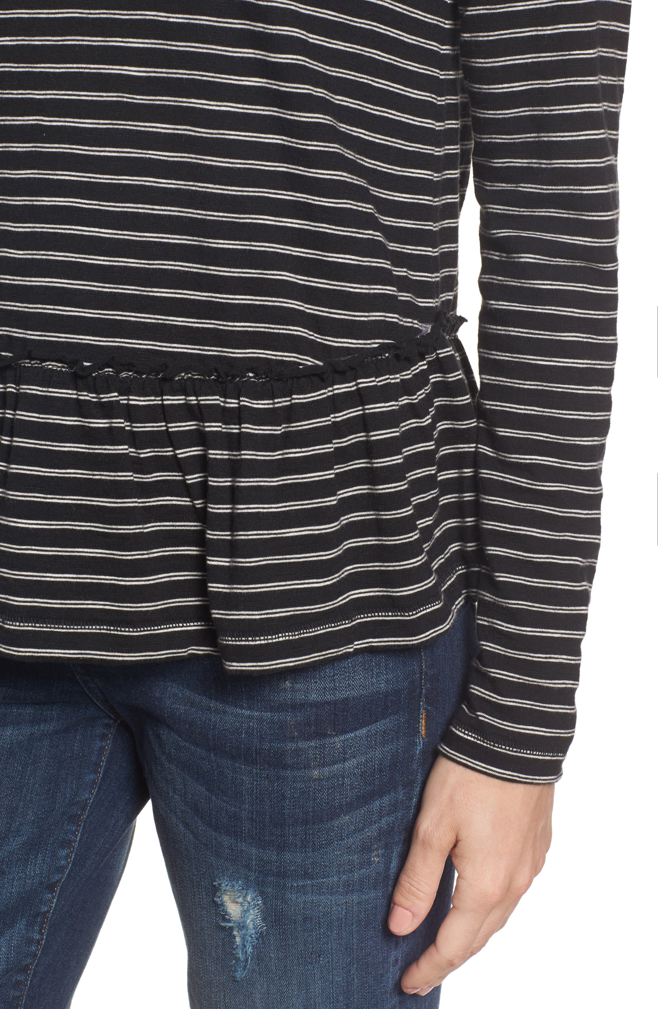 CASLON<SUP>®</SUP>, Peplum Tee, Alternate thumbnail 4, color, BLACK- BEIGE STRIPE