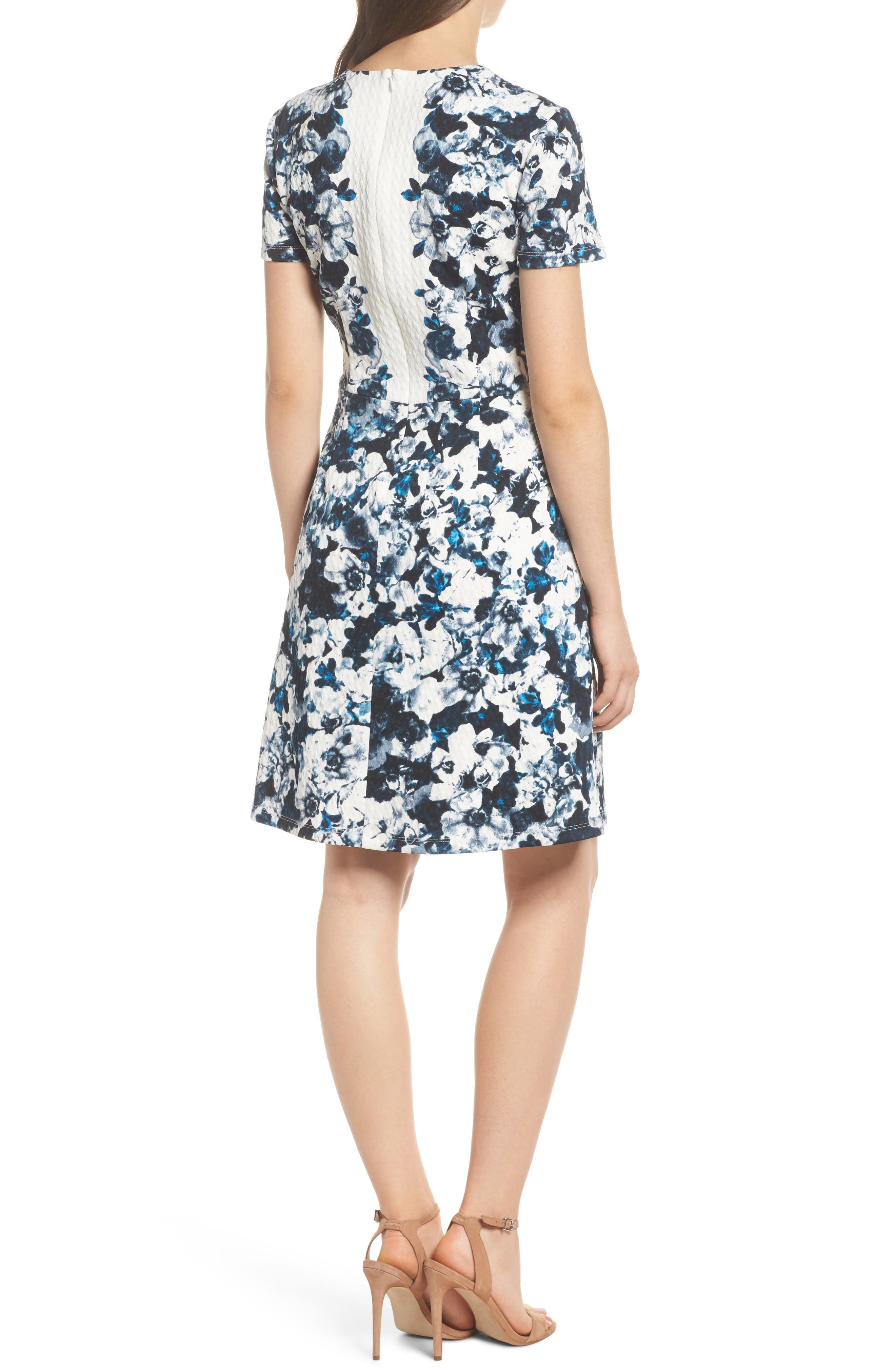 Harlequin Texture Print Fit & Flare Dress,                             Alternate thumbnail 2, color,                             465