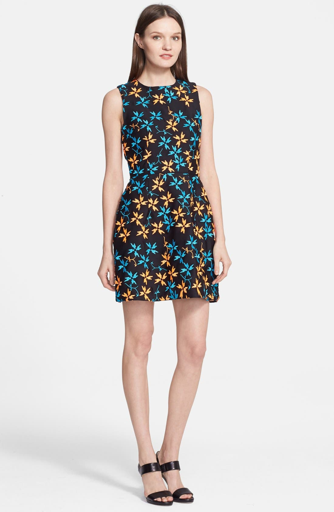 TANYA TAYLOR 'Michelle' Embroidered Dress, Main, color, 001