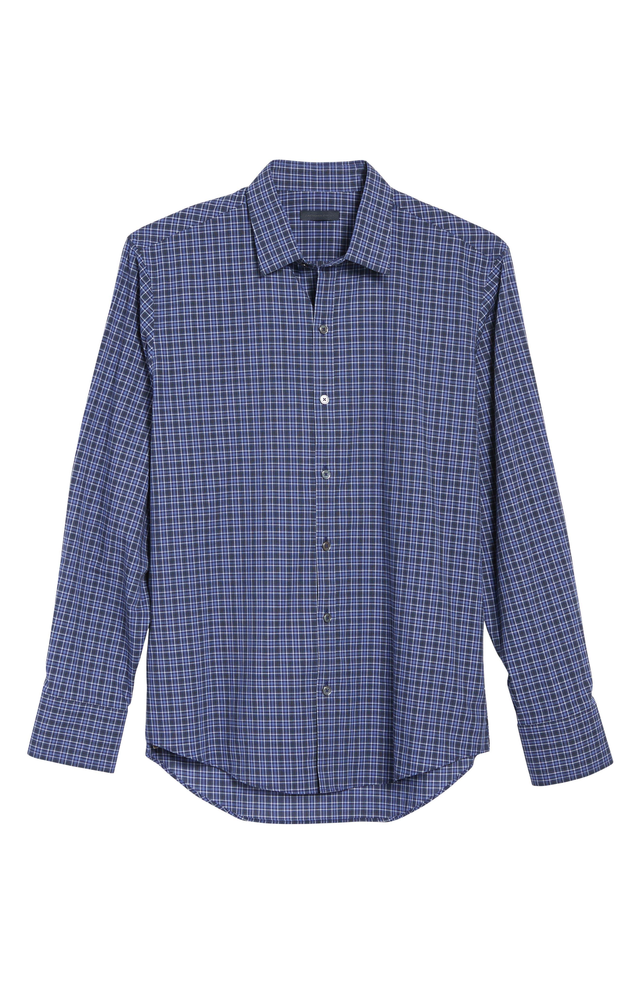 Barnum Slim Fit Check Sport Shirt,                             Alternate thumbnail 6, color,