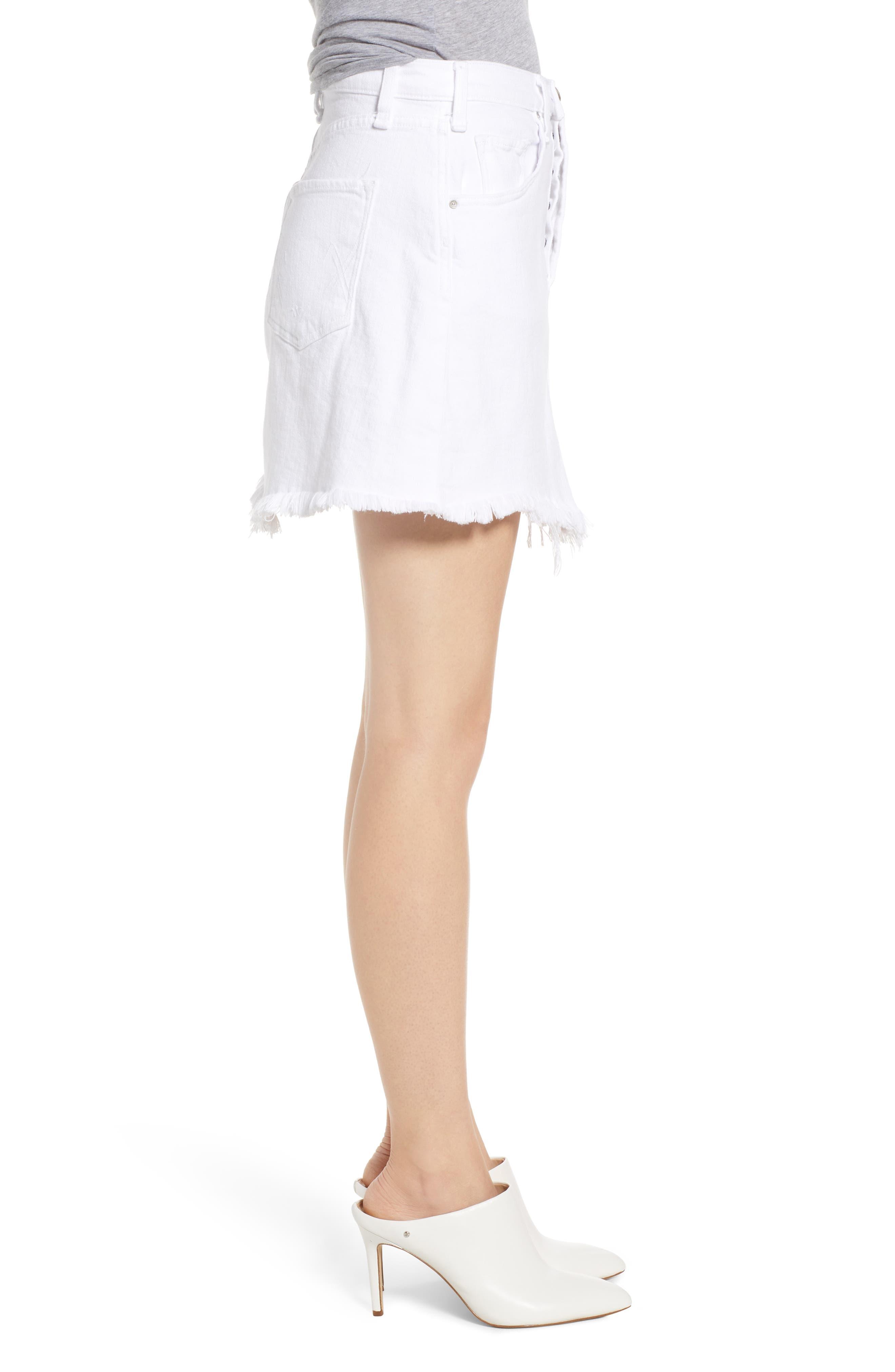 Izabel Angled Hem Denim Skirt,                             Alternate thumbnail 3, color,                             WHITE LIE