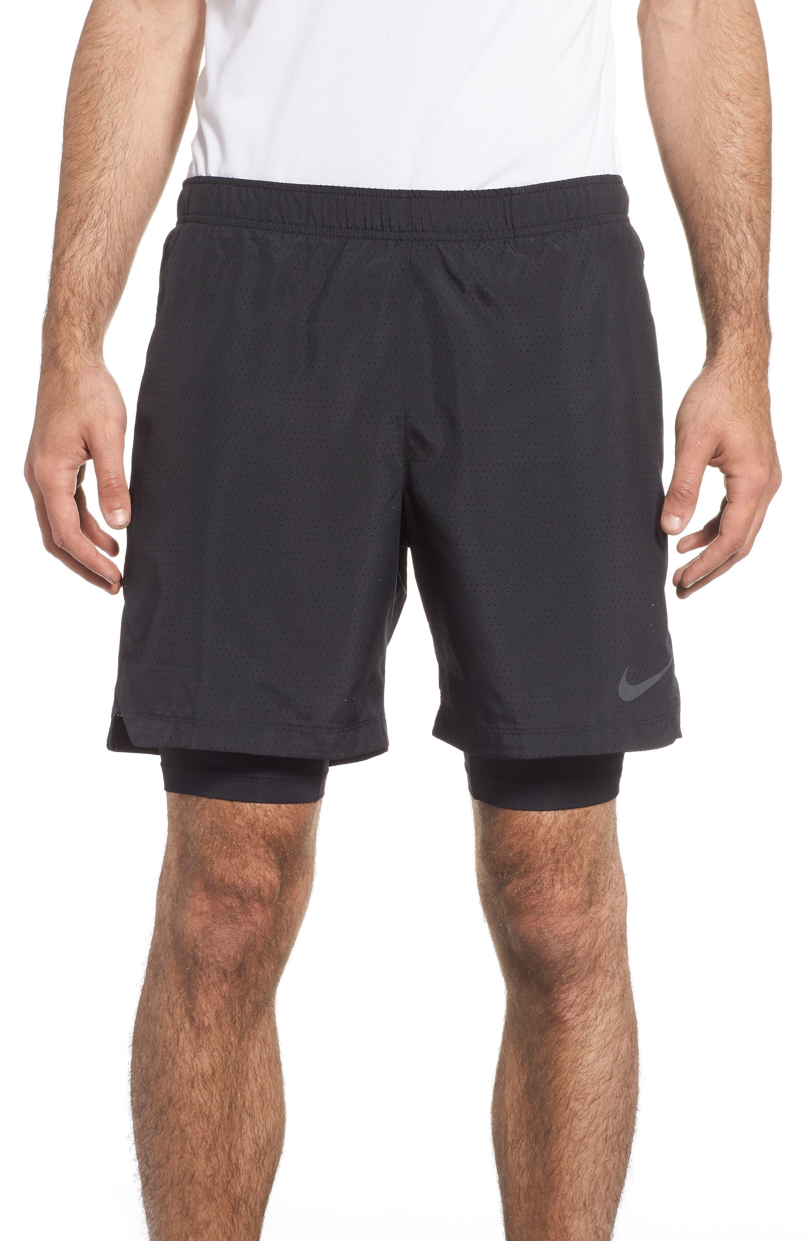 Running Challenger 2-in-1 Shorts,                         Main,                         color, BLACK/ BLACK