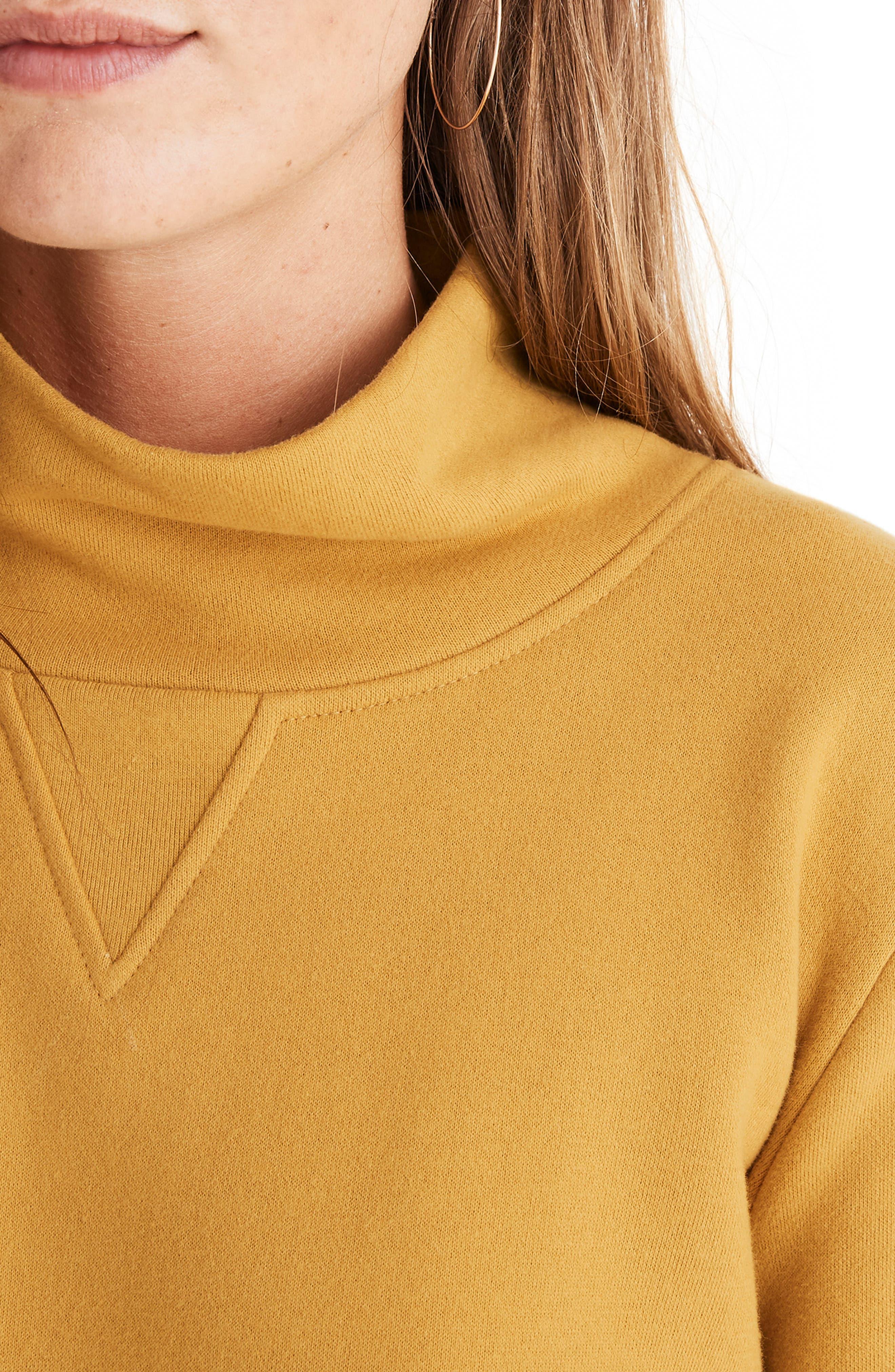 Turtleneck Sweatshirt,                             Alternate thumbnail 4, color,                             NECTAR GOLD