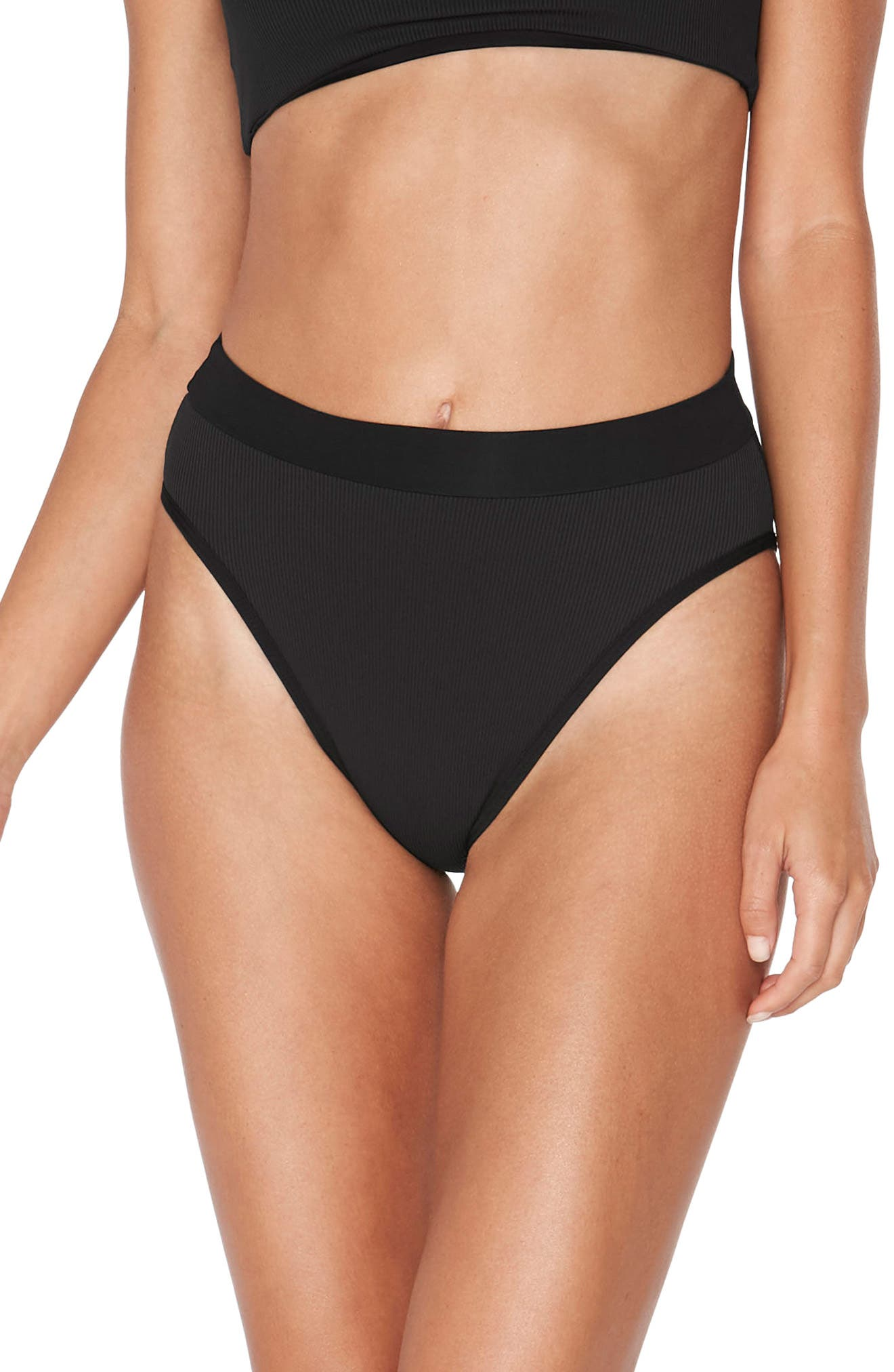 Veronica Ribbed Bikini Bottoms,                             Main thumbnail 1, color,                             BLACK