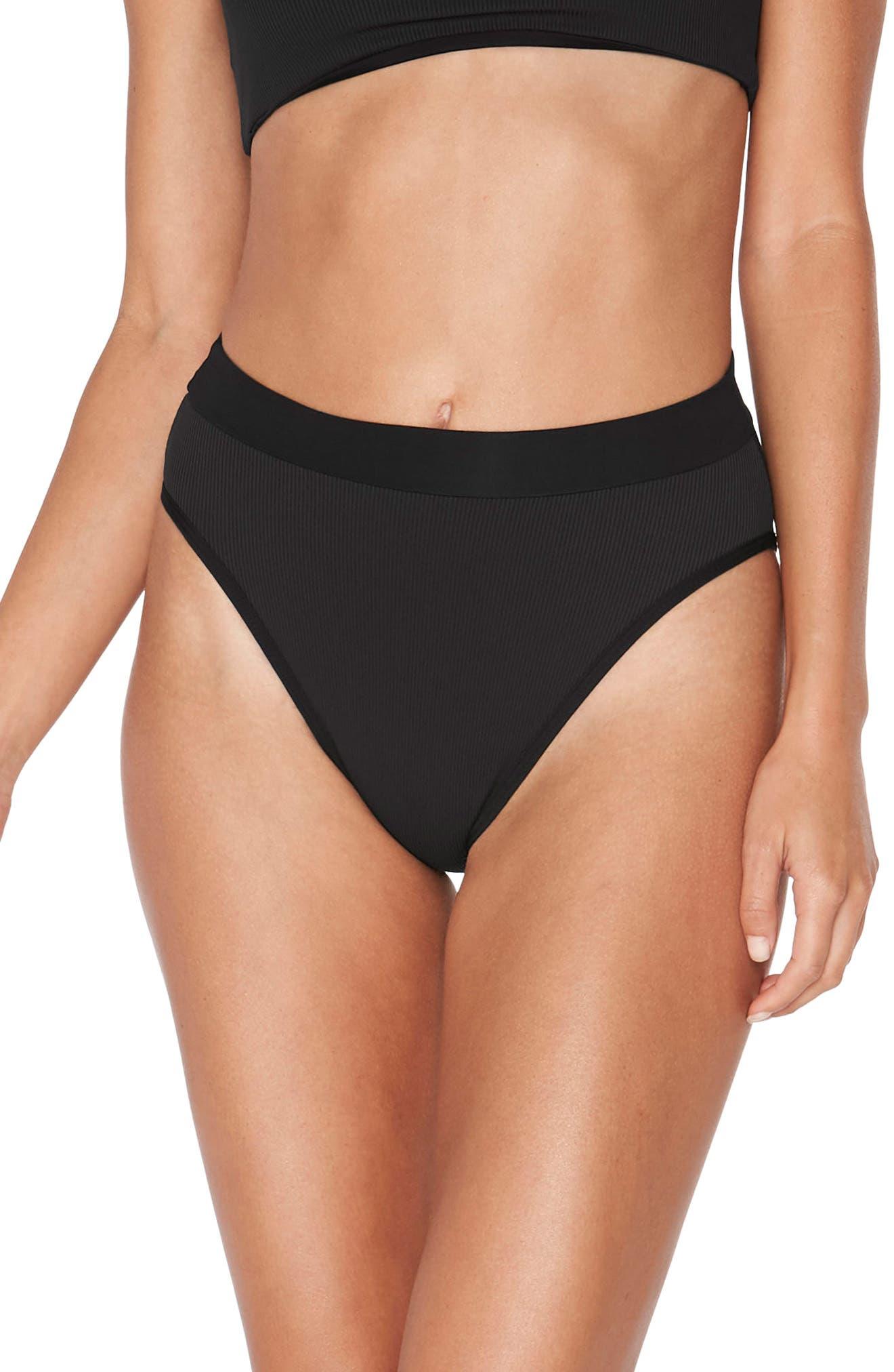 Veronica Ribbed Bikini Bottoms,                         Main,                         color, BLACK