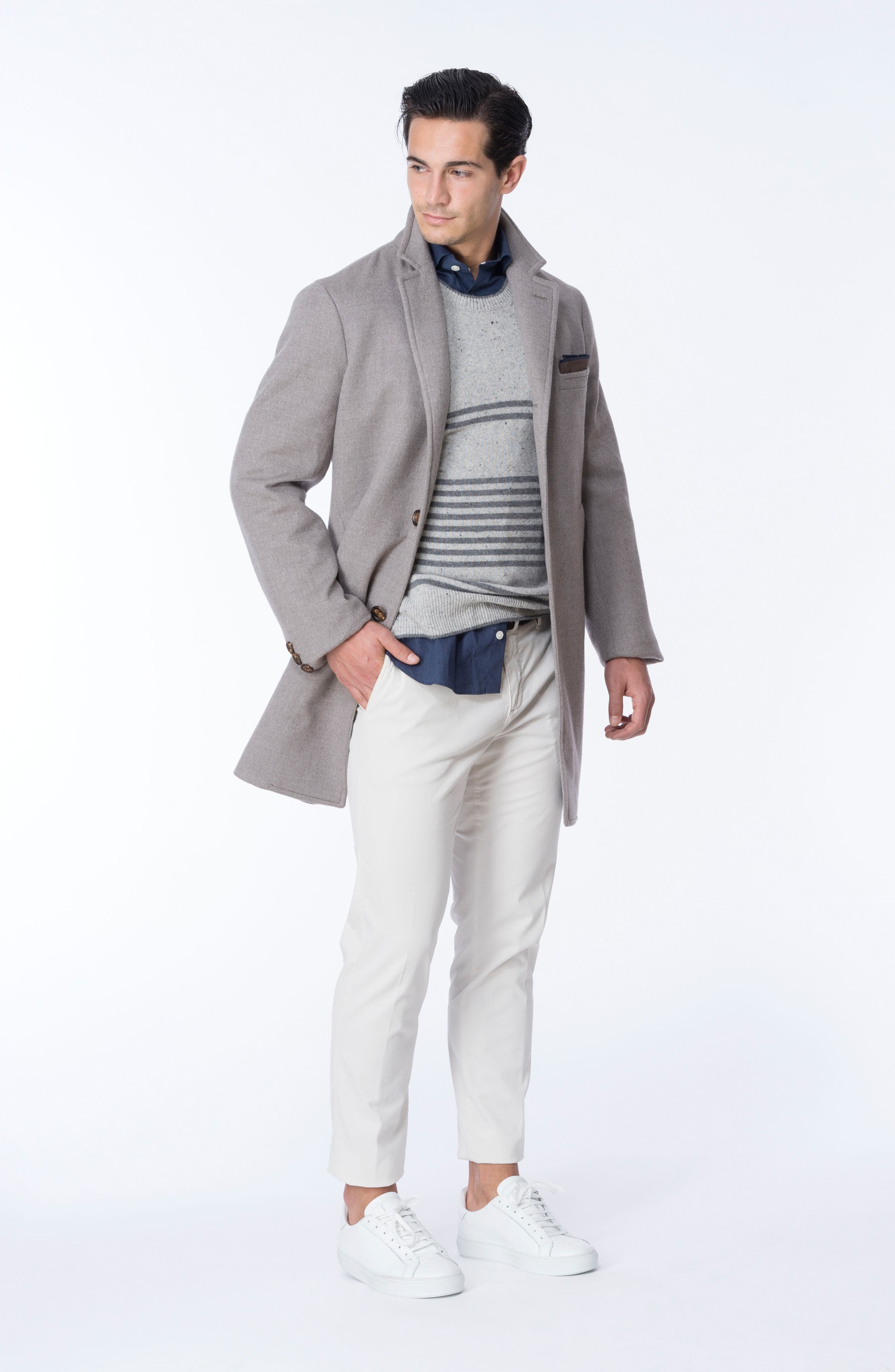 Donegal Stripe Cashmere Sweater,                             Alternate thumbnail 7, color,                             020
