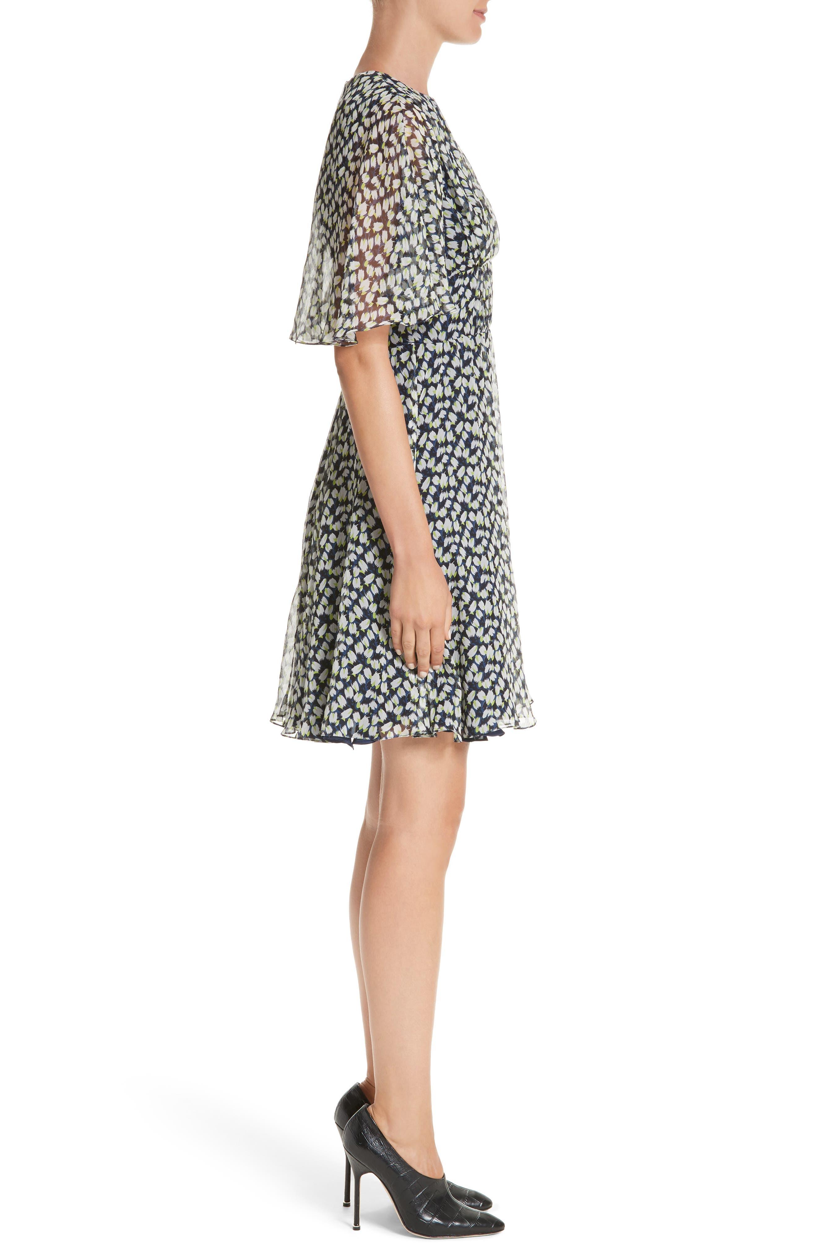 Print Silk Chiffon Day Dress,                             Alternate thumbnail 3, color,