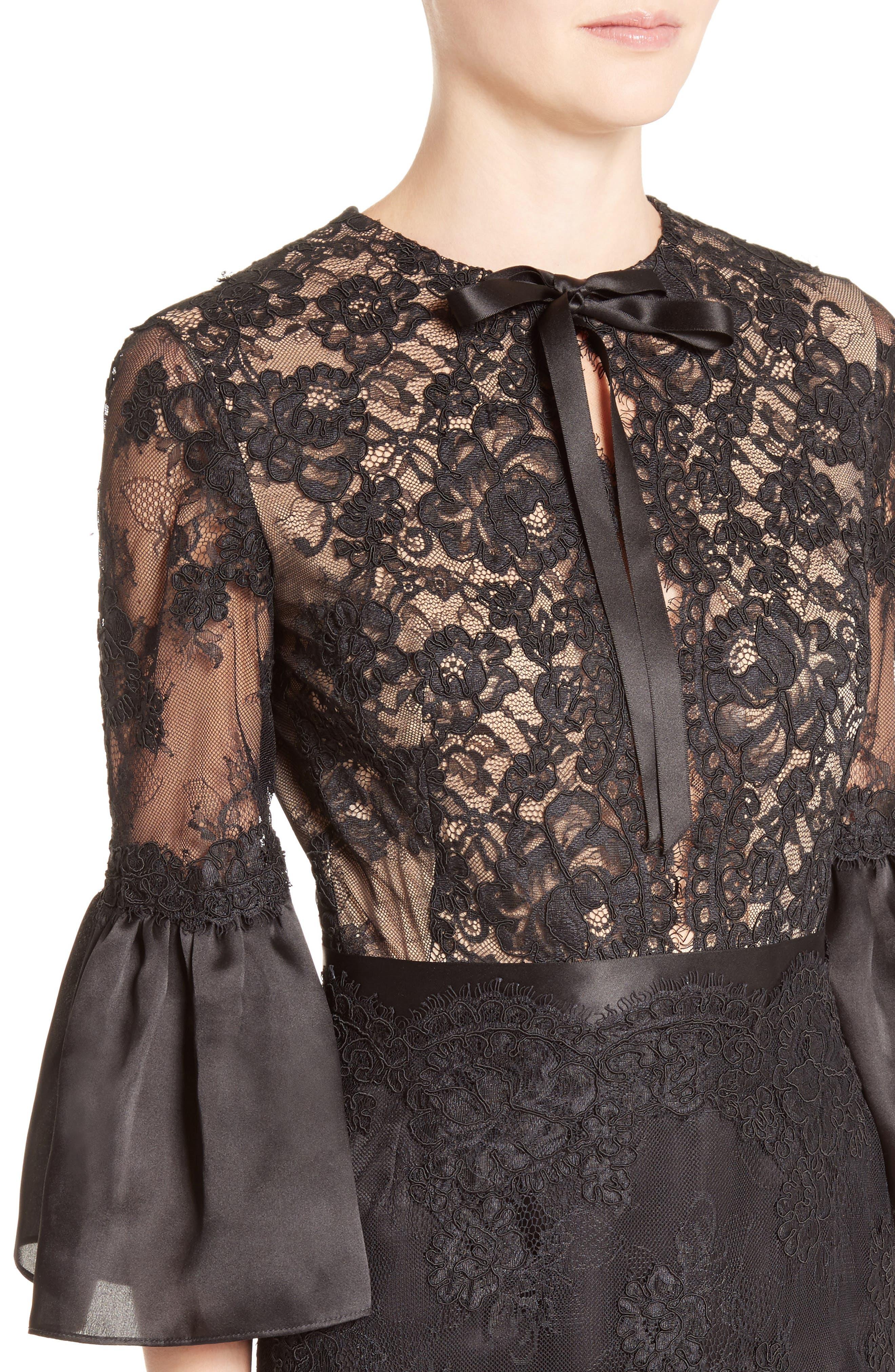 Bell Sleeve Lace Midi Dress,                             Alternate thumbnail 4, color,                             001