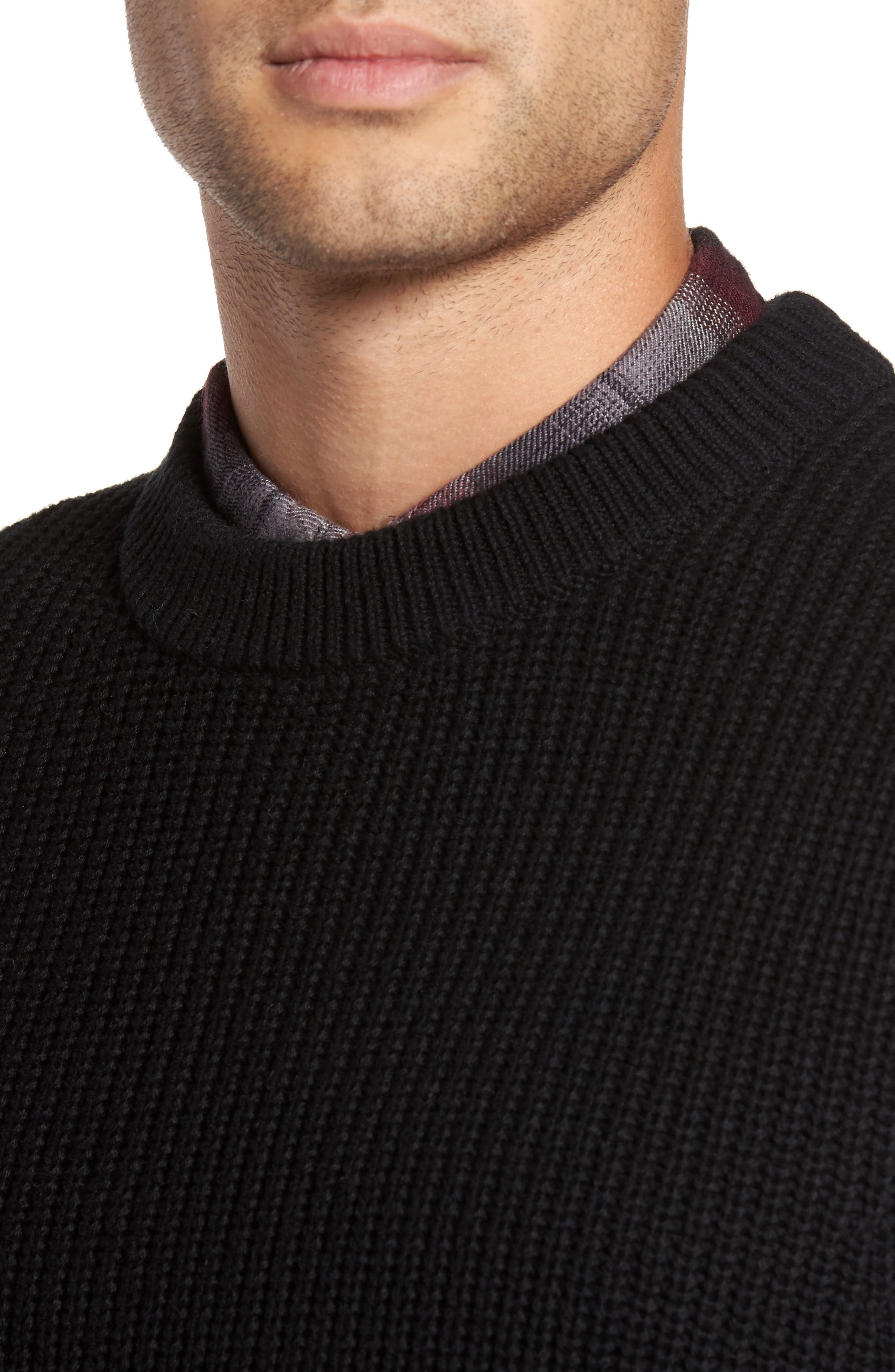 Shaker Stitch Sweater,                             Alternate thumbnail 4, color,                             001