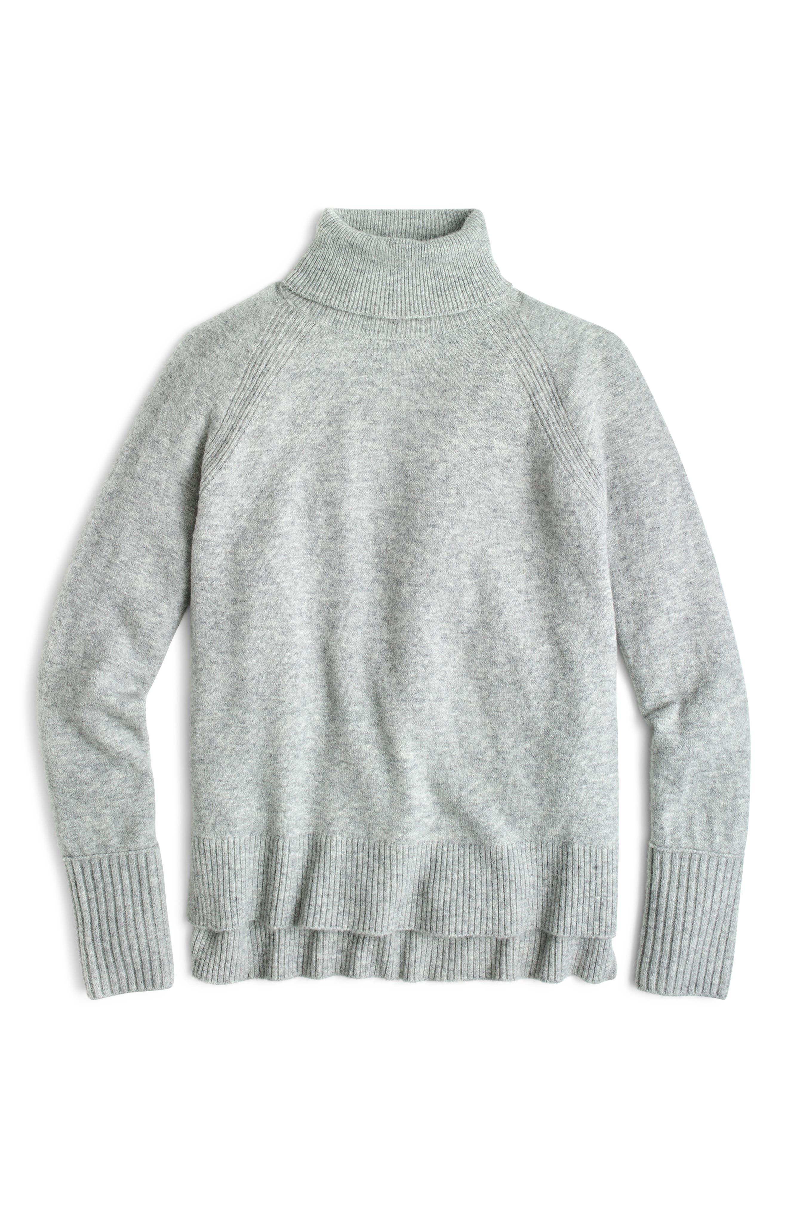 Side Slit Supersoft Turtleneck Sweater,                             Alternate thumbnail 2, color,                             HEATHER GREY