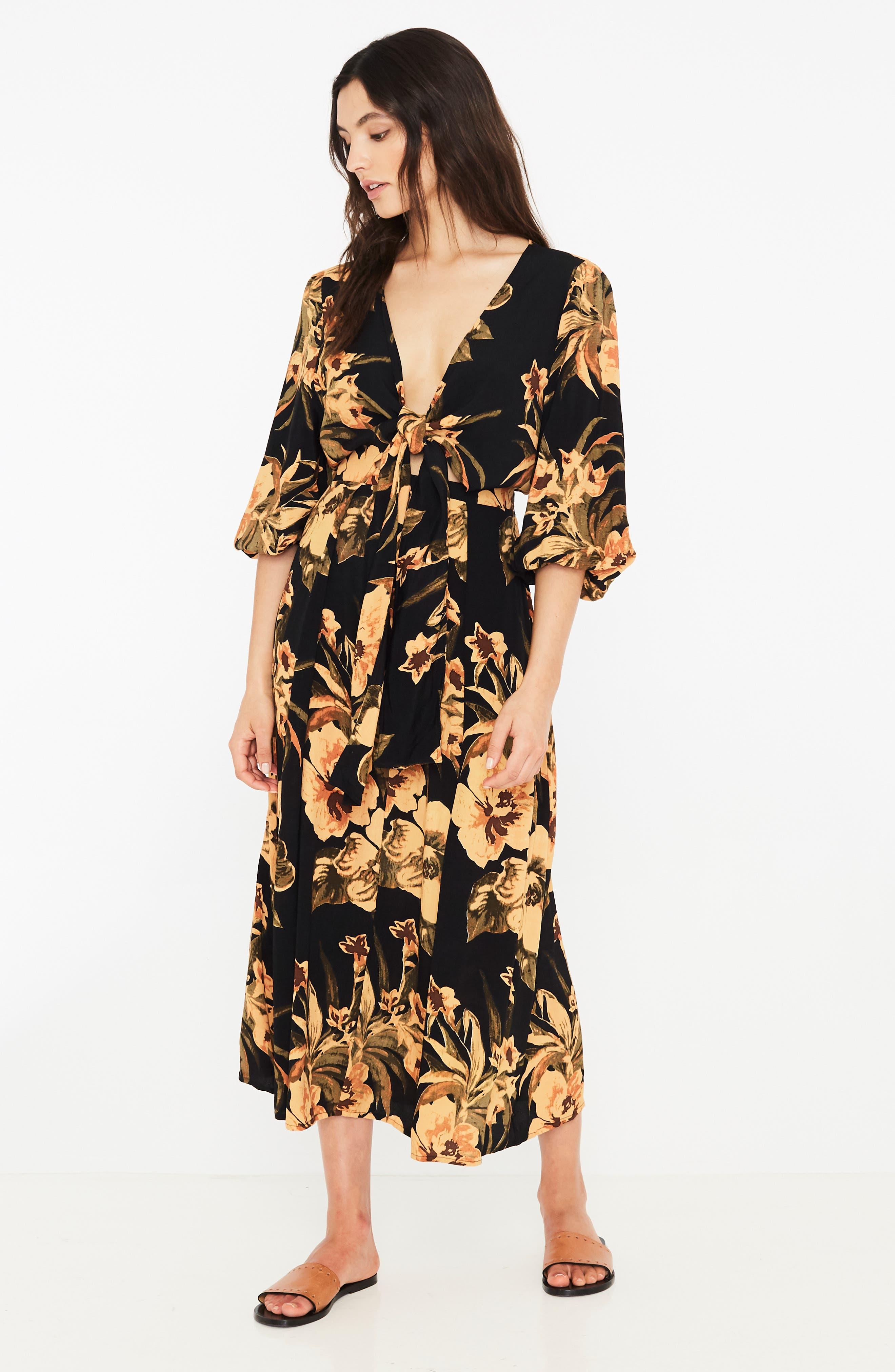 Oliviera Floral Print Cutout Midi Dress,                             Alternate thumbnail 6, color,                             CARIBBEAN PRINT