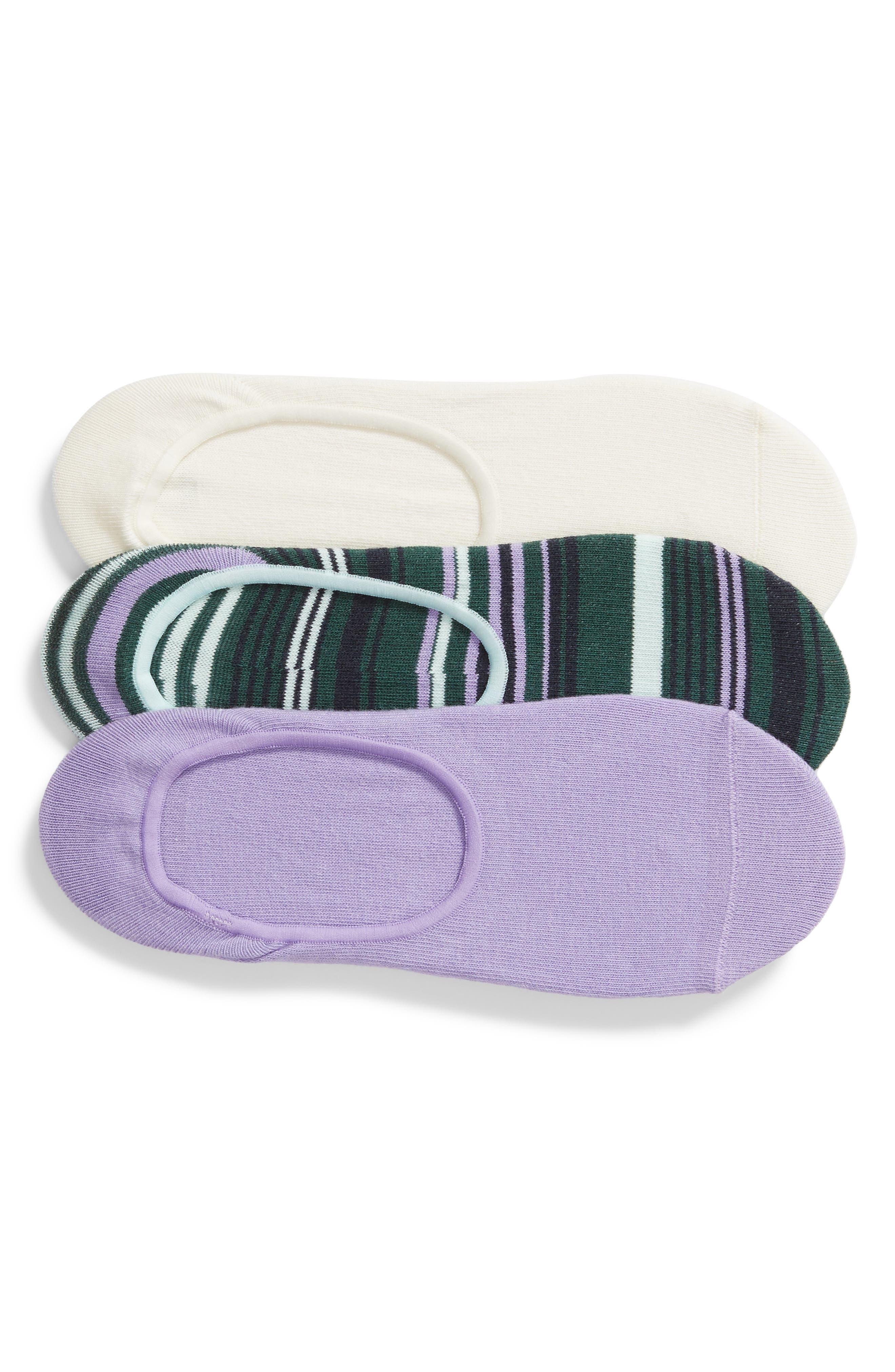 NORDSTROM,                             3-Pack No-Show Liner Socks,                             Main thumbnail 1, color,                             PURPLE MITTEN MULTI
