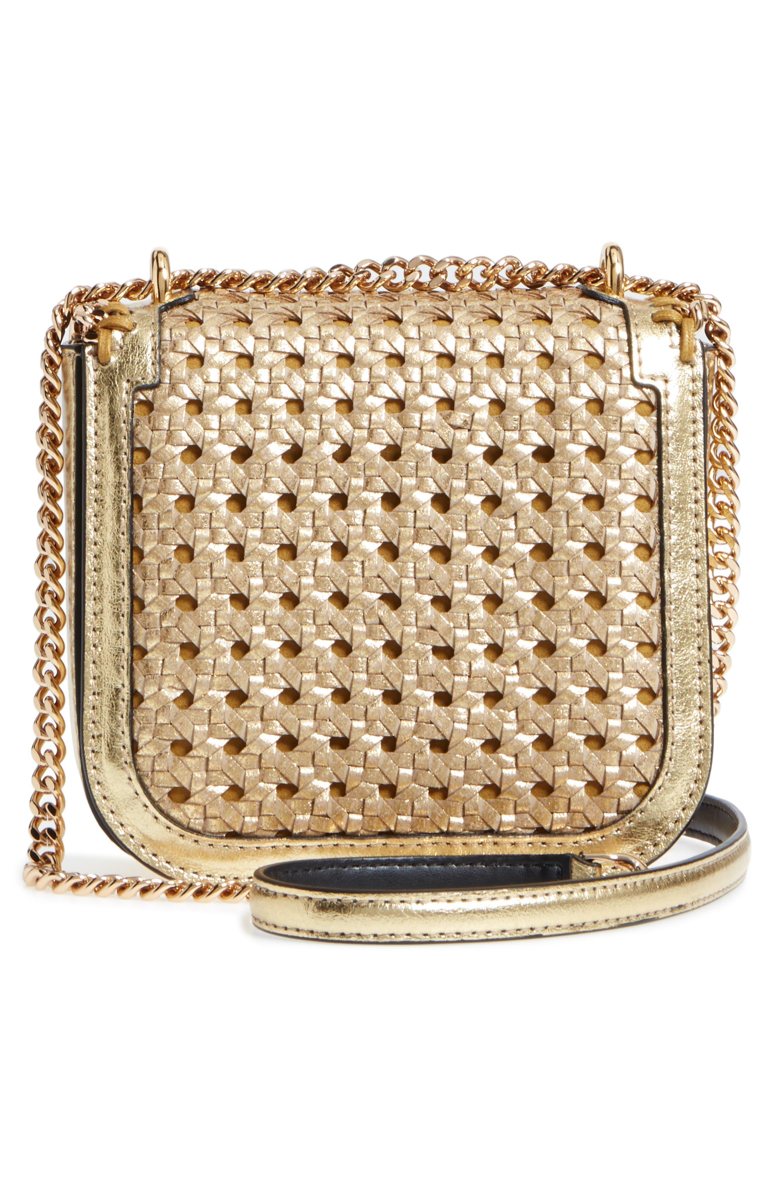 Falabella Box Woven Metallic Faux Leather Shoulder Bag,                             Alternate thumbnail 3, color,